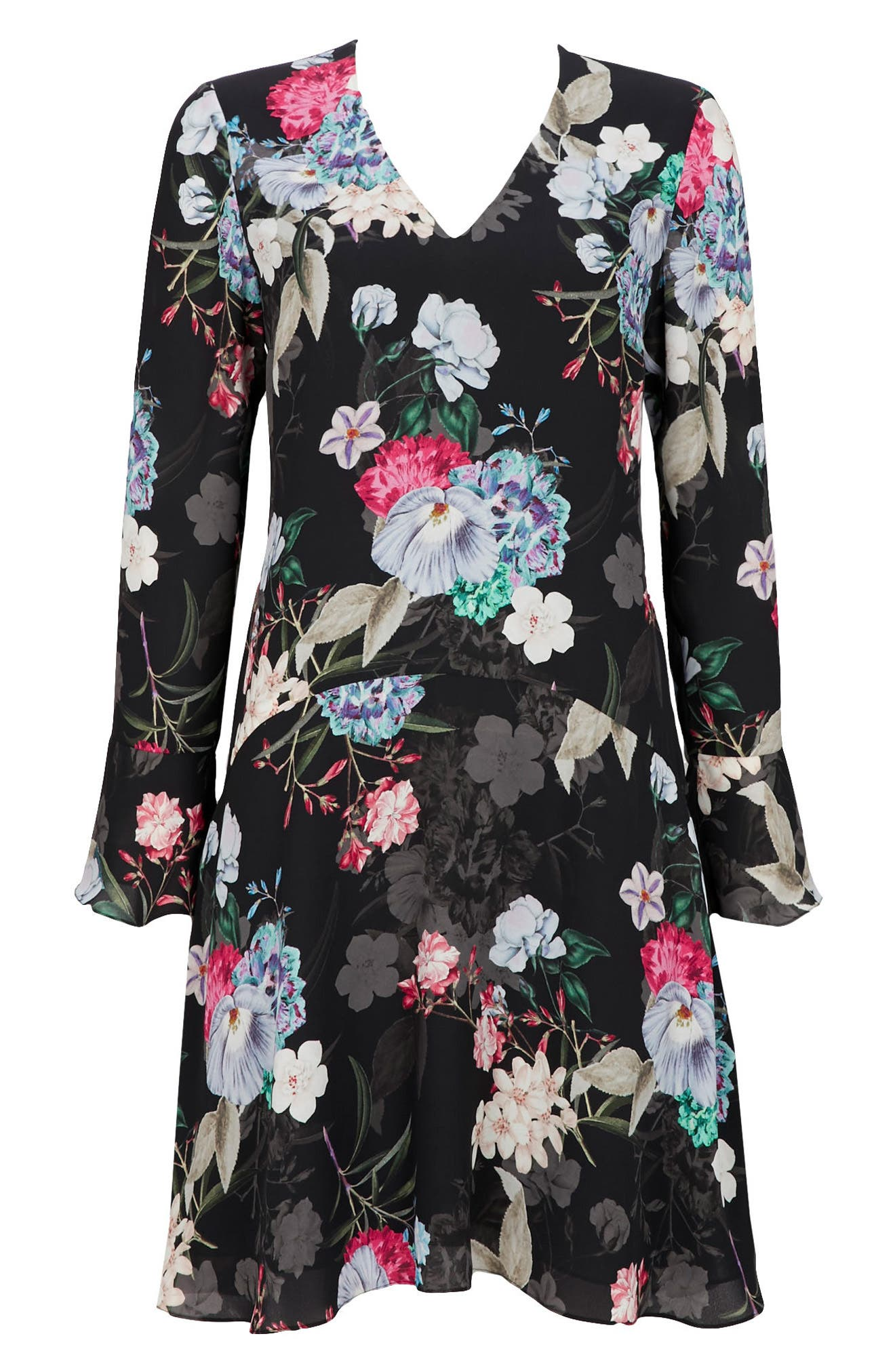 Drop Waist Floral Print Dress,                             Alternate thumbnail 5, color,                             Ink