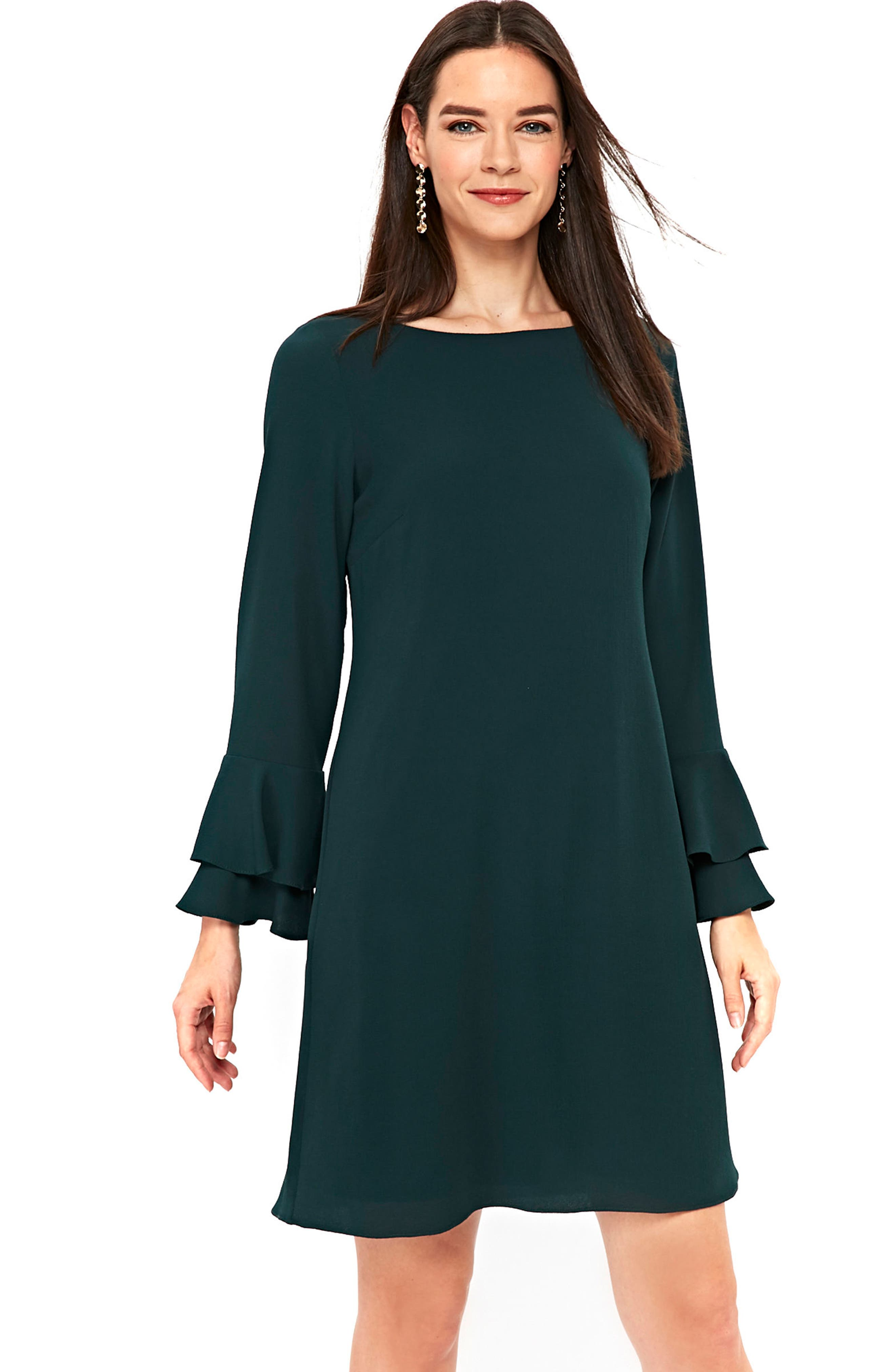 Double Bell Sleeve Shift Dress,                             Alternate thumbnail 3, color,                             Green