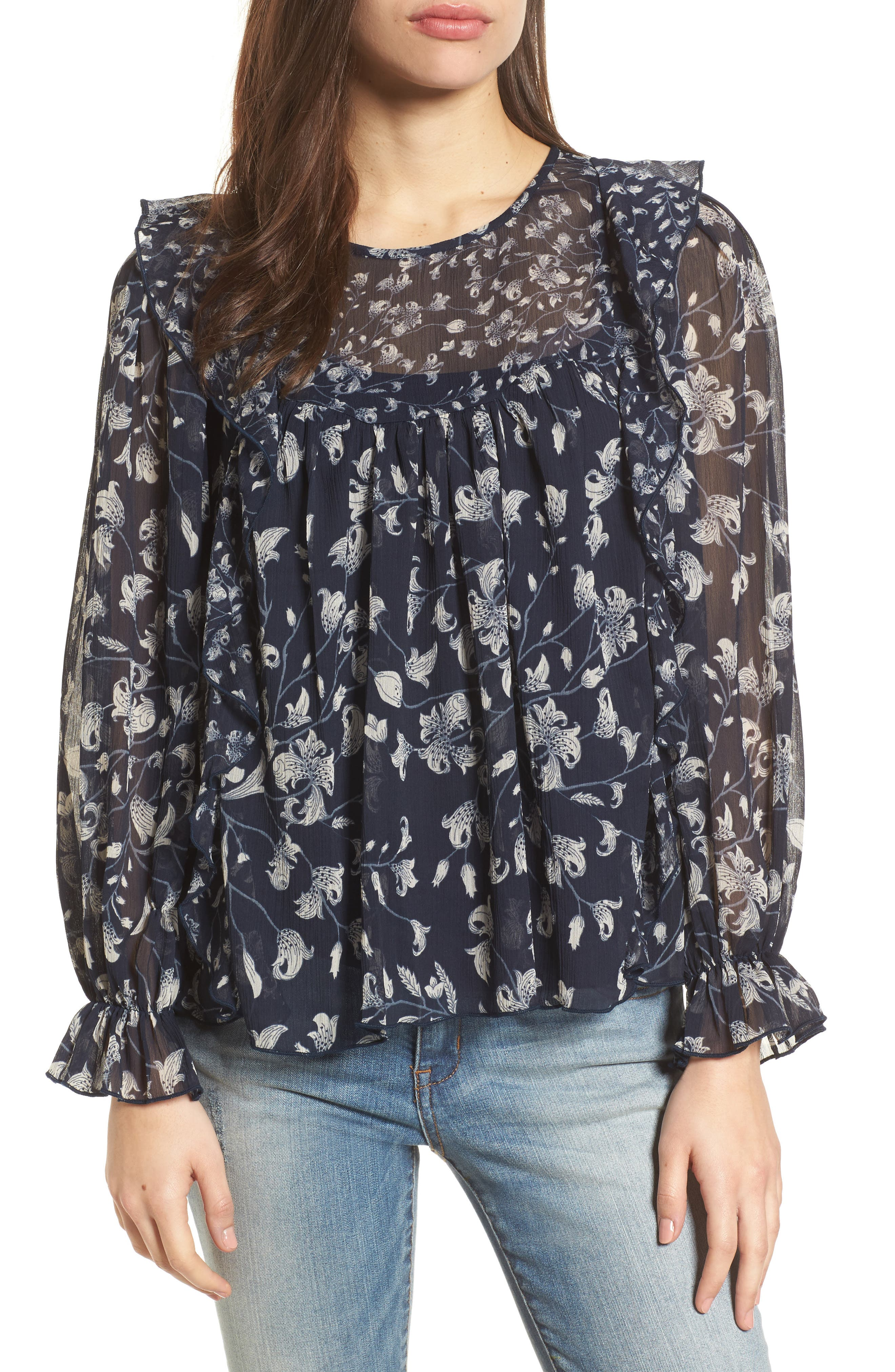 Ruffled Floral Top,                         Main,                         color, Blue Multi