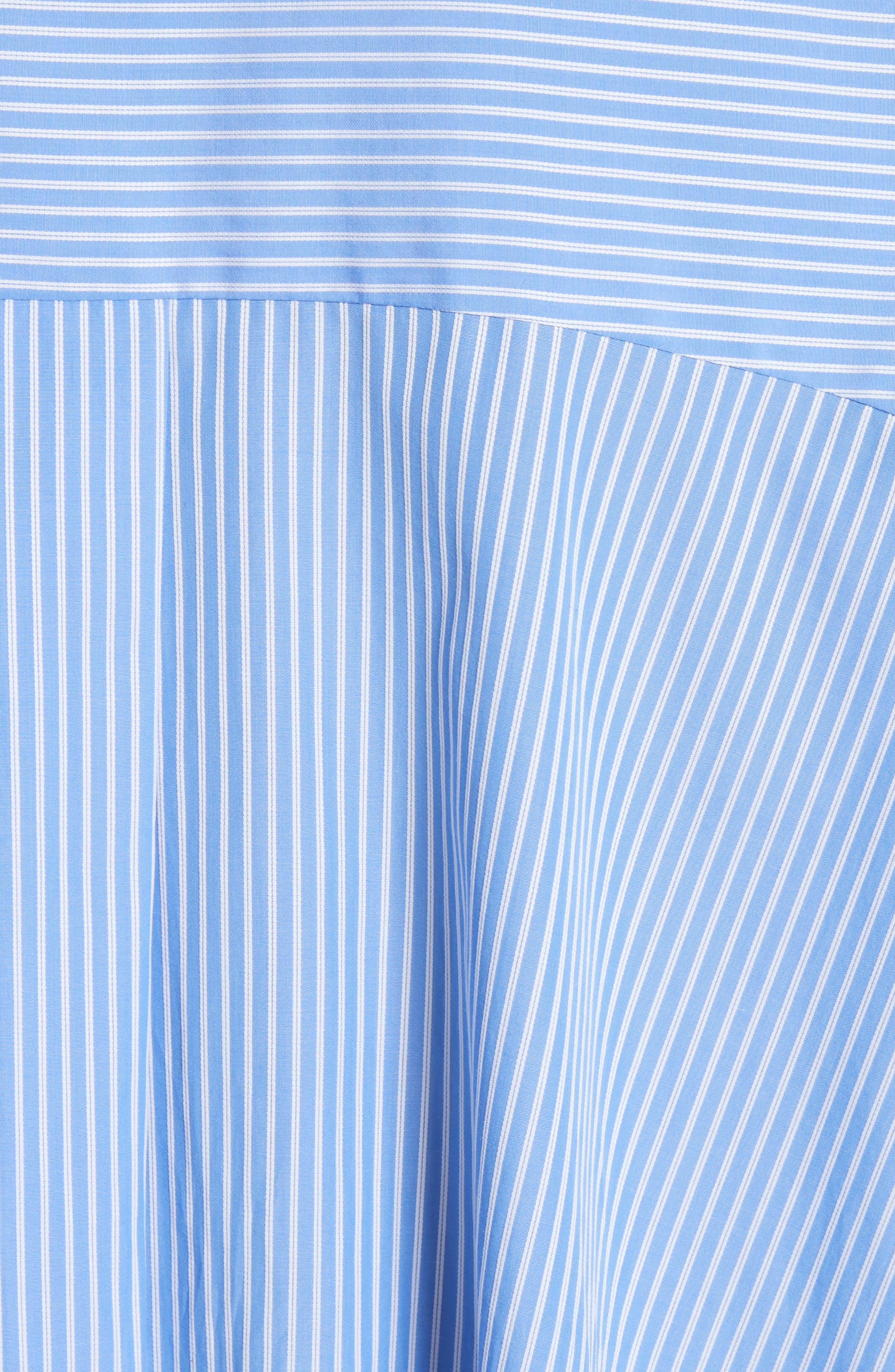 Stripe Puff Sleeve Shirt,                             Alternate thumbnail 5, color,                             Blue Stripe