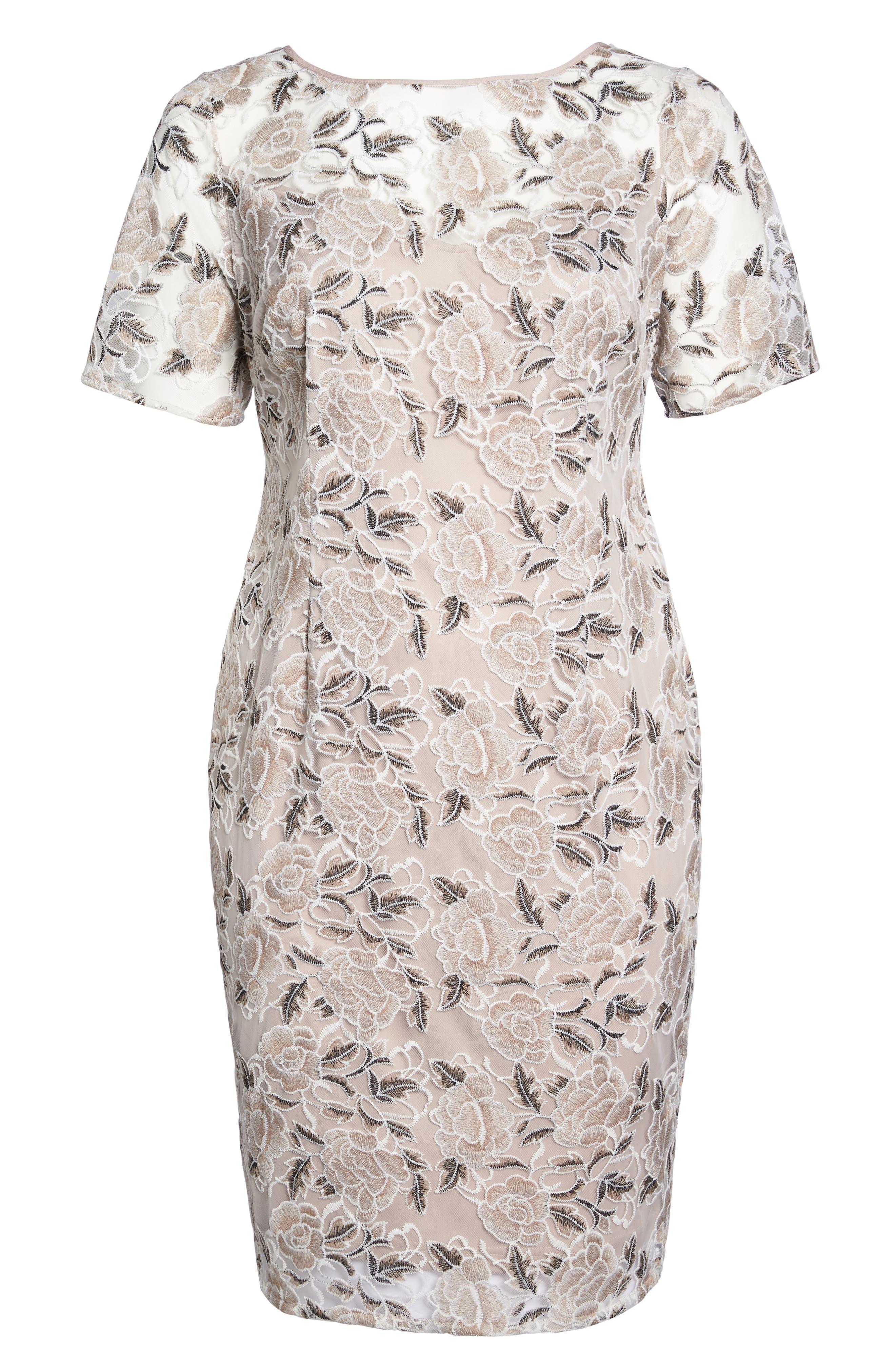 Lace Sheath Dress,                             Alternate thumbnail 6, color,                             Pink Cinnamon Multi