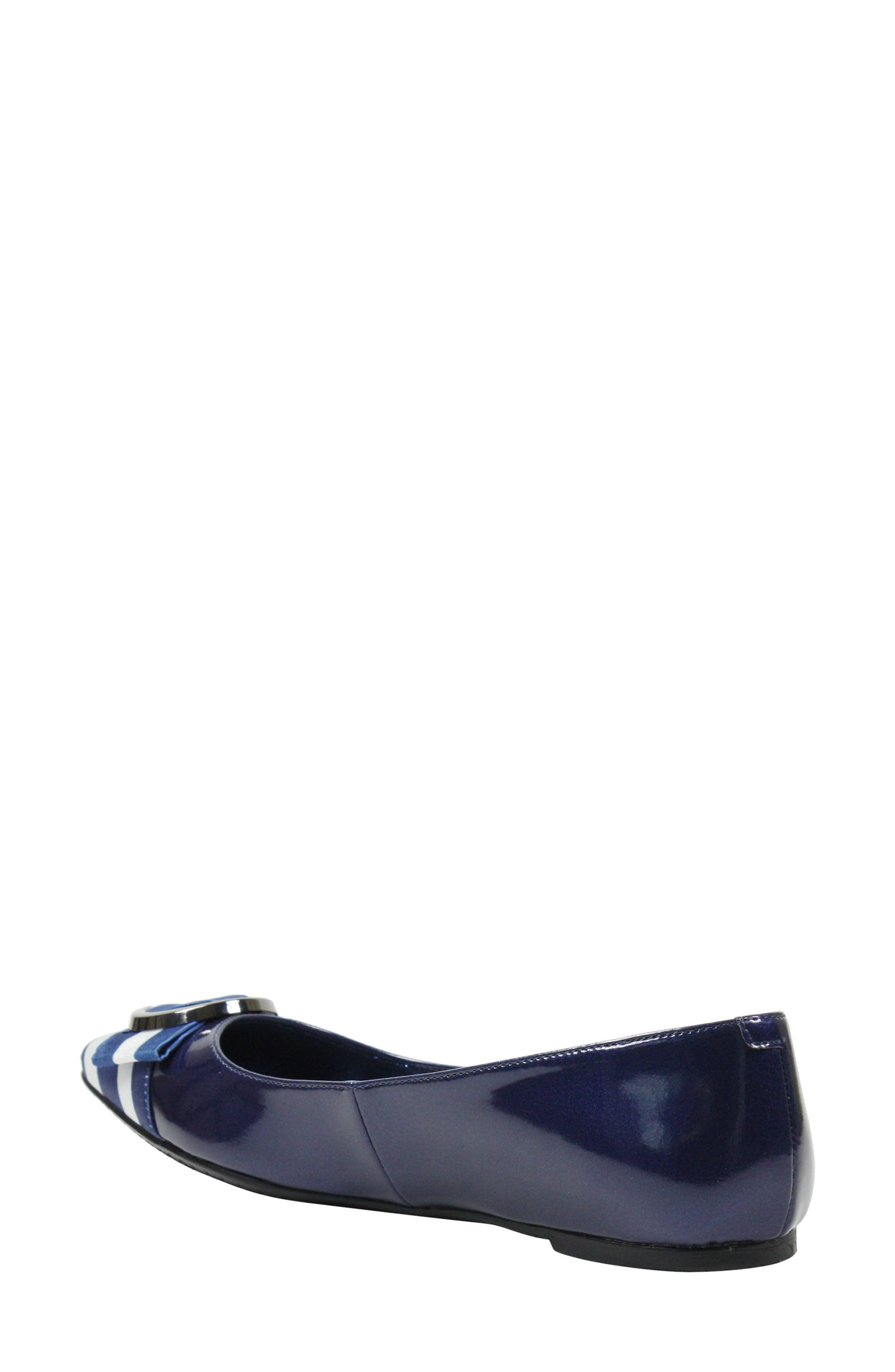 Bessee Flat,                             Alternate thumbnail 2, color,                             Navy/ White Faux Leather