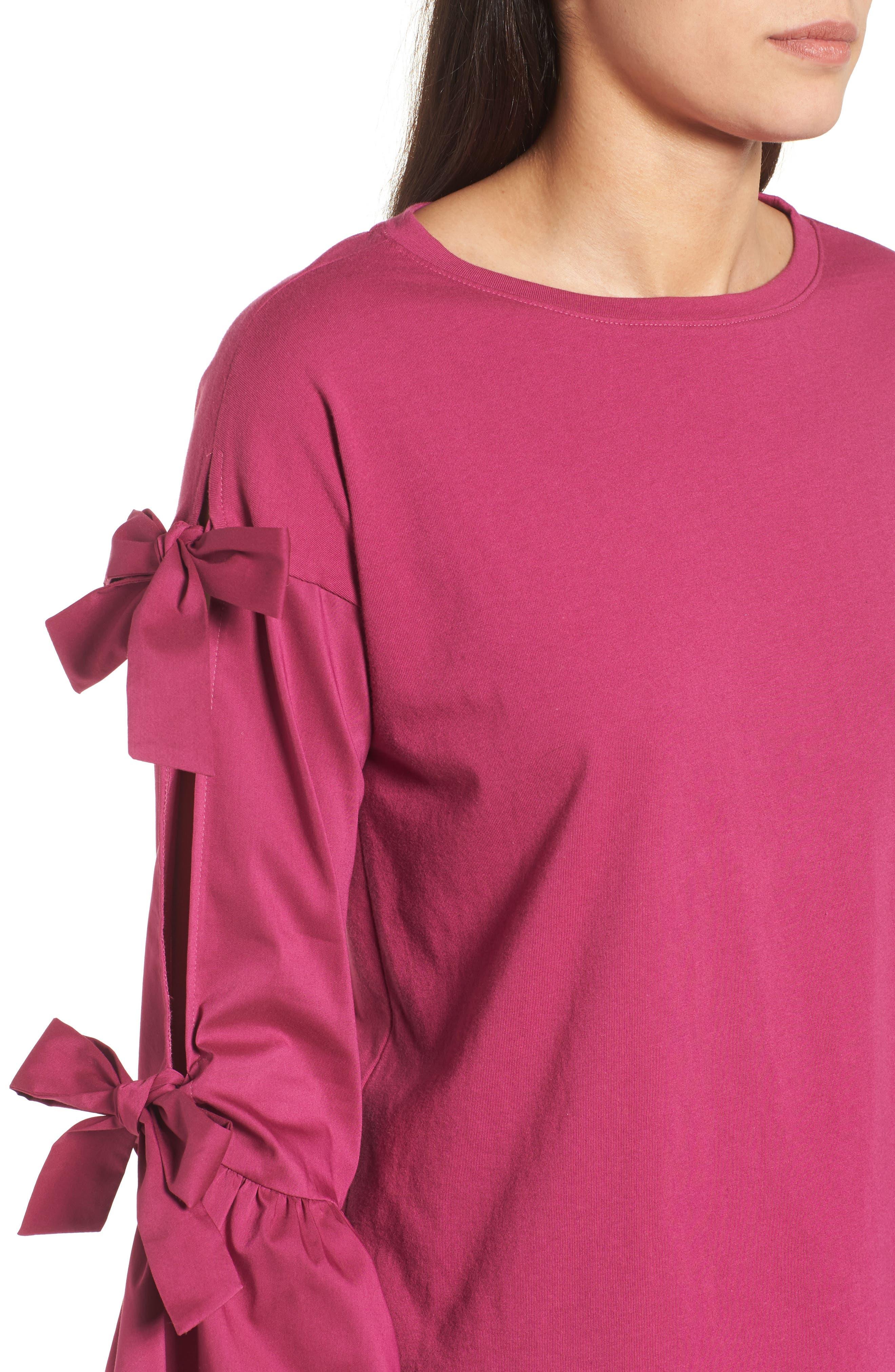 Bow Sleeve Poplin Cotton Top,                             Alternate thumbnail 4, color,                             Purple Boysen