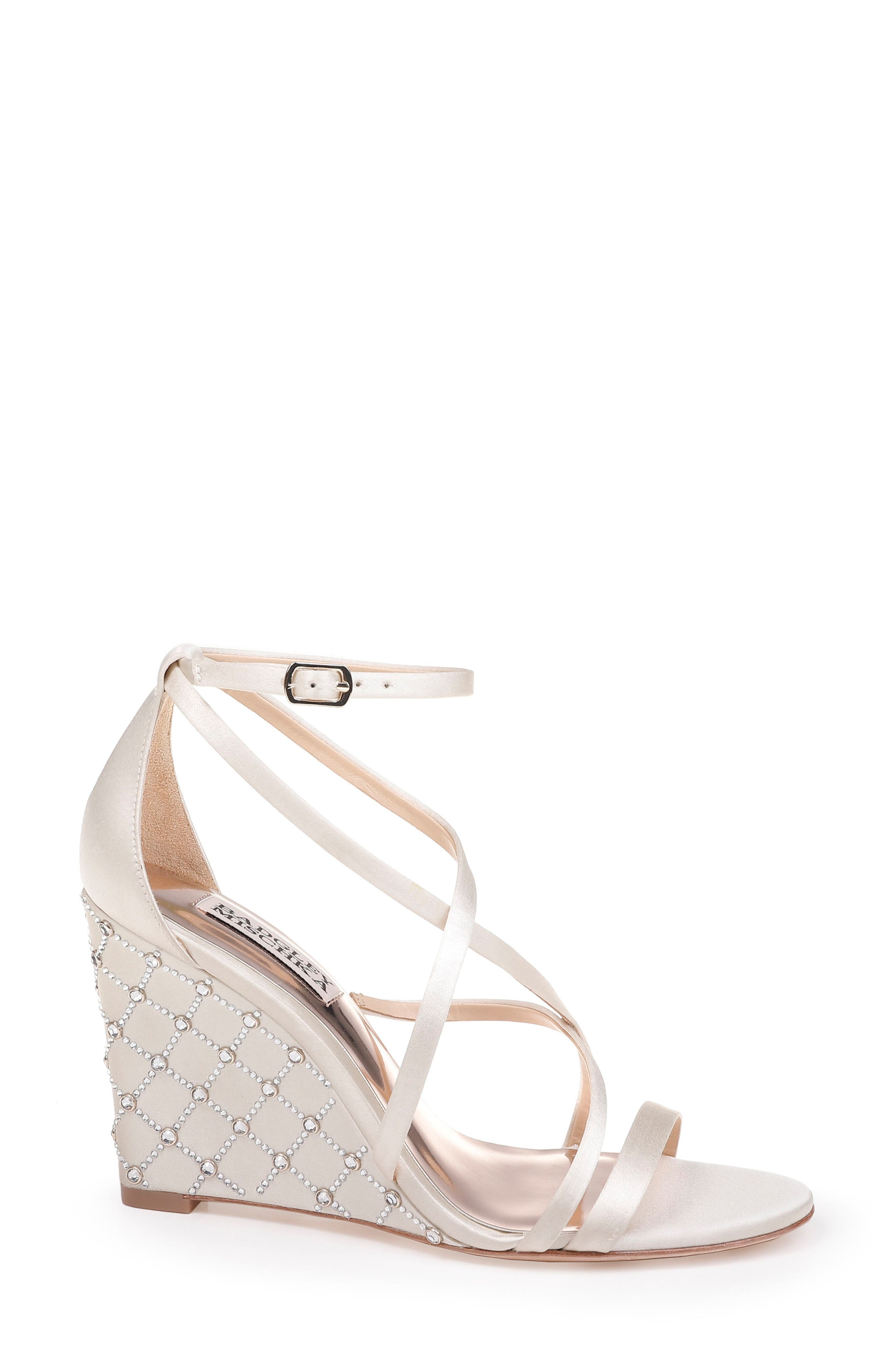 Shelly Strappy Wedge Sandal,                             Alternate thumbnail 3, color,                             Ivory Satin