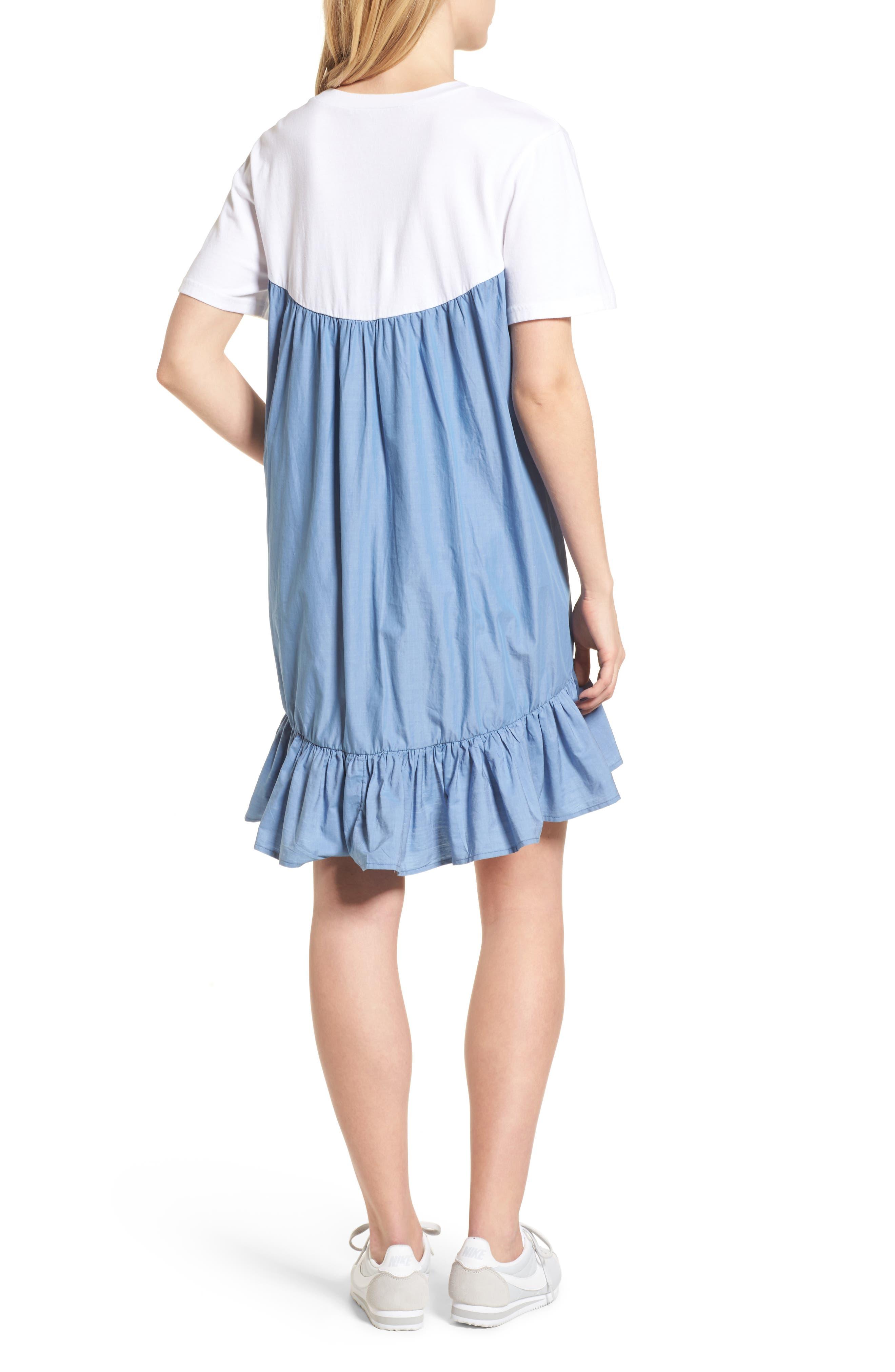 Mixed Media T-Shirt Dress,                             Alternate thumbnail 2, color,                             White
