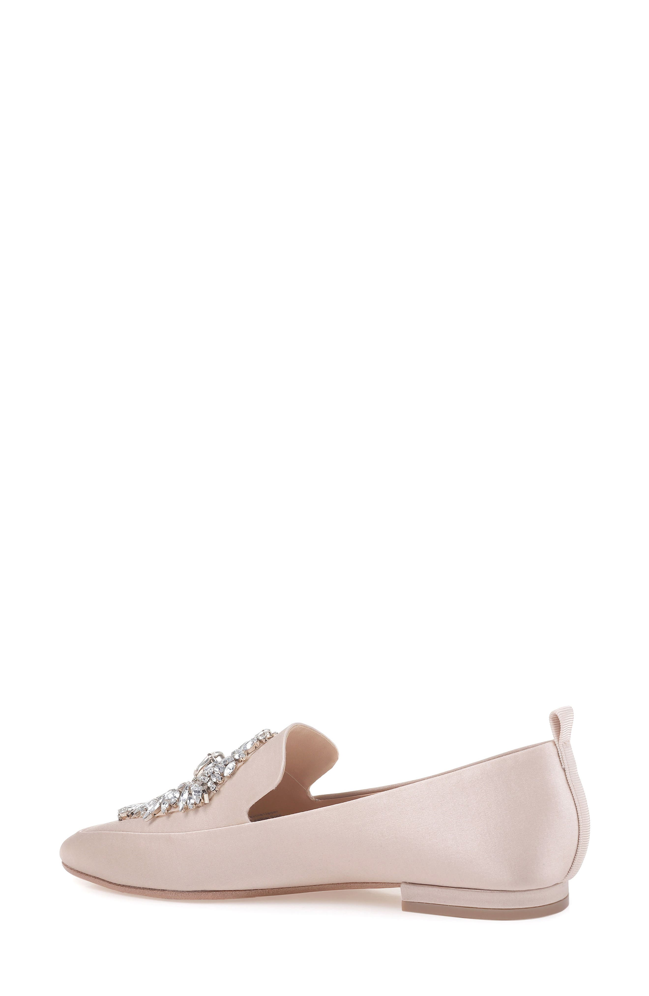 Salma Crystal Embellished Loafer,                             Alternate thumbnail 2, color,                             Nude Satin