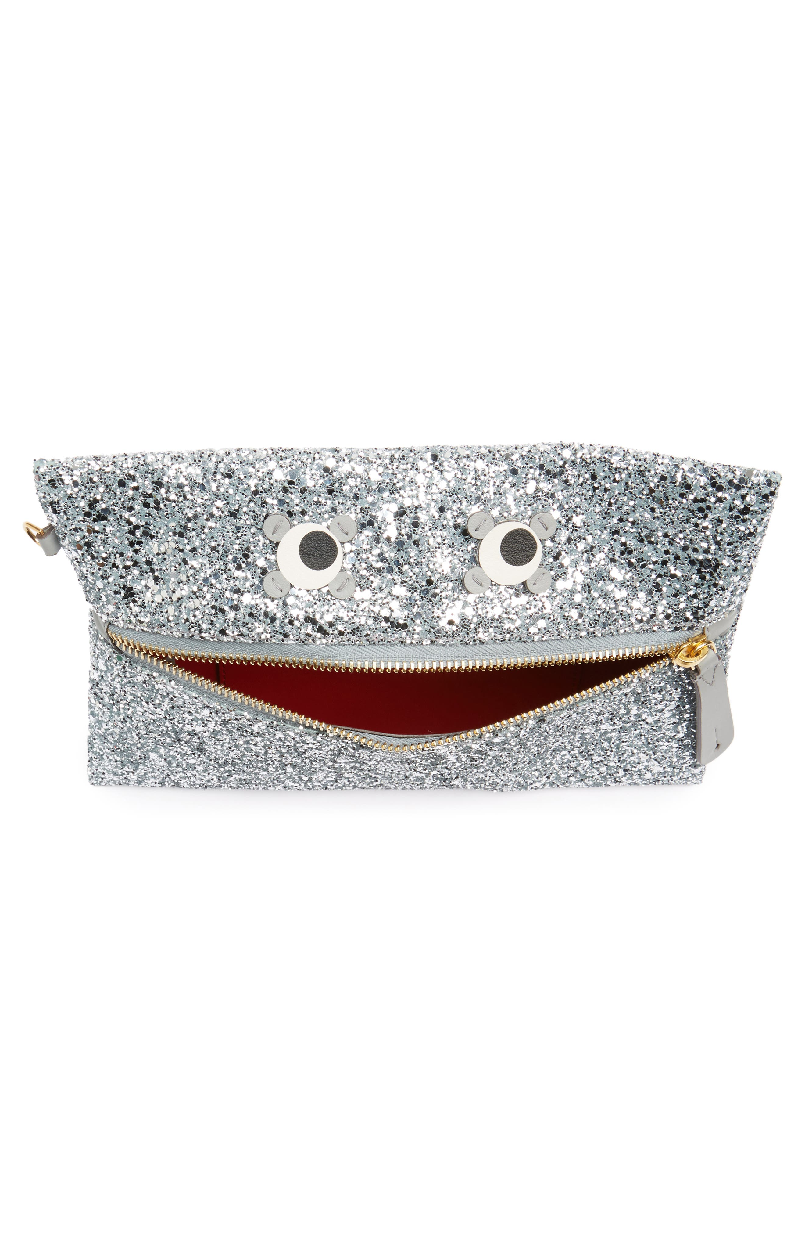 Eyes Circulus Glitter Pouch,                             Alternate thumbnail 4, color,                             Silver