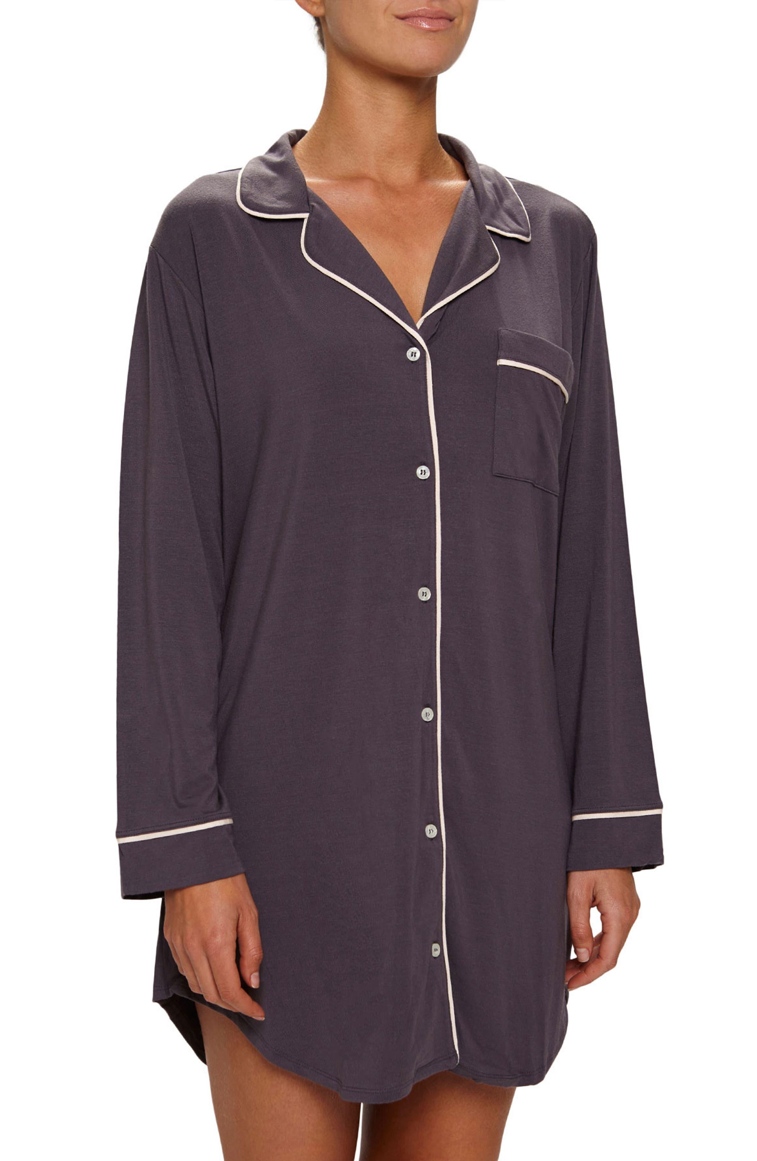 Gisele Stretch Jersey Sleep Shirt,                         Main,                         color, Pebble