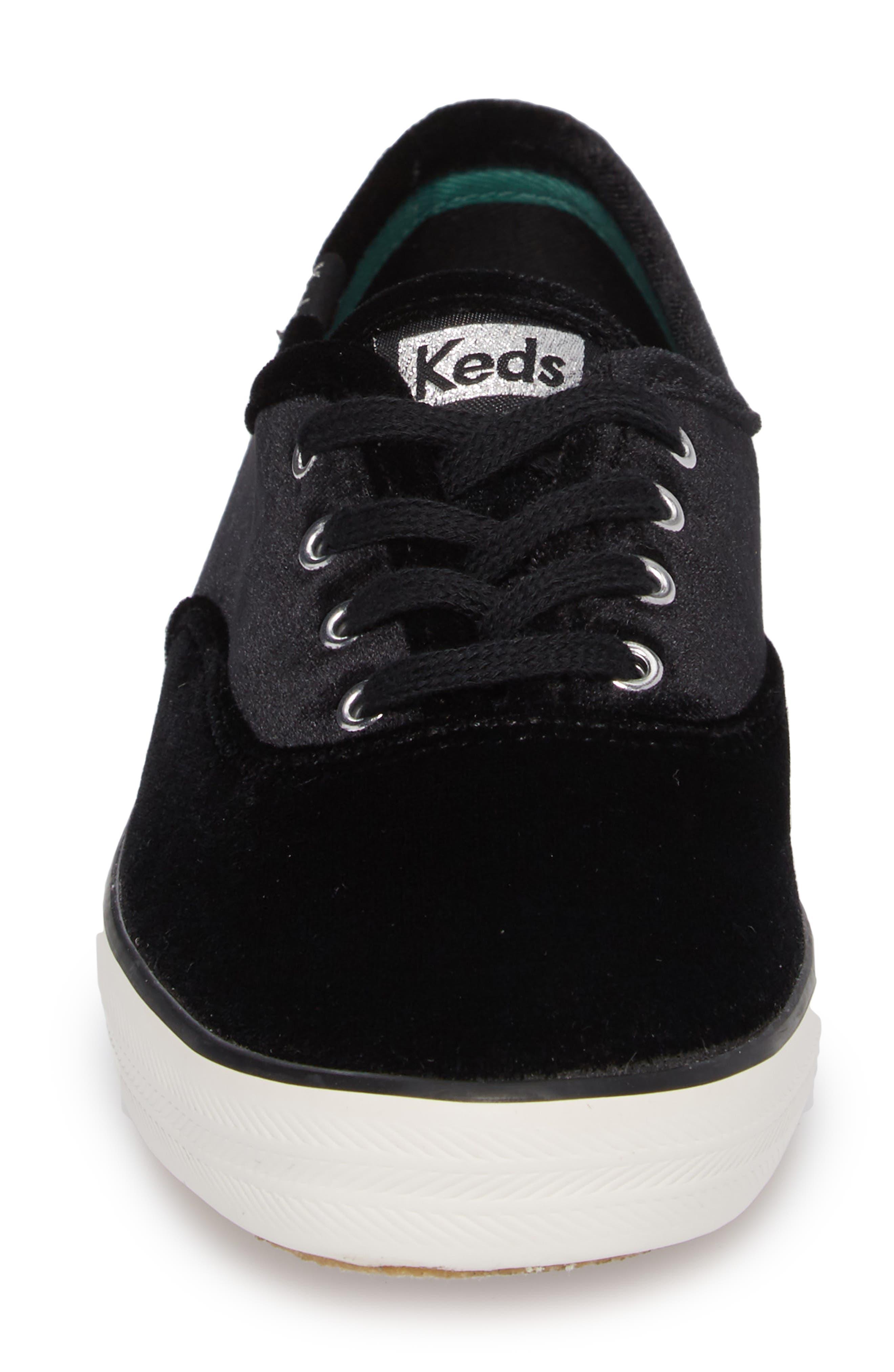 Champion Velvet Sneaker,                             Alternate thumbnail 4, color,                             Black