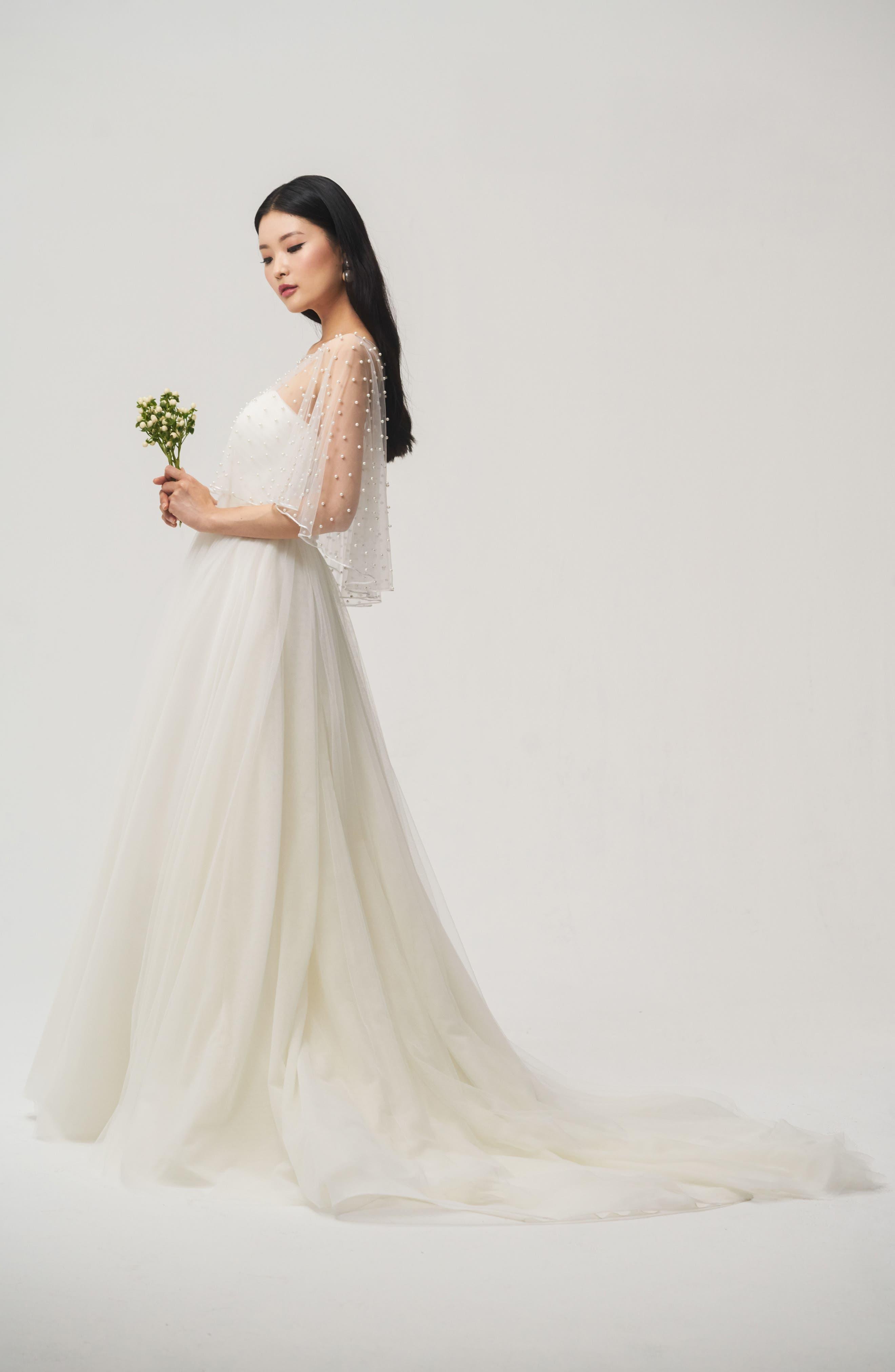 Alternate Image 2  - Jenny Yoo Fiona Imitation Pearl Tulle Top