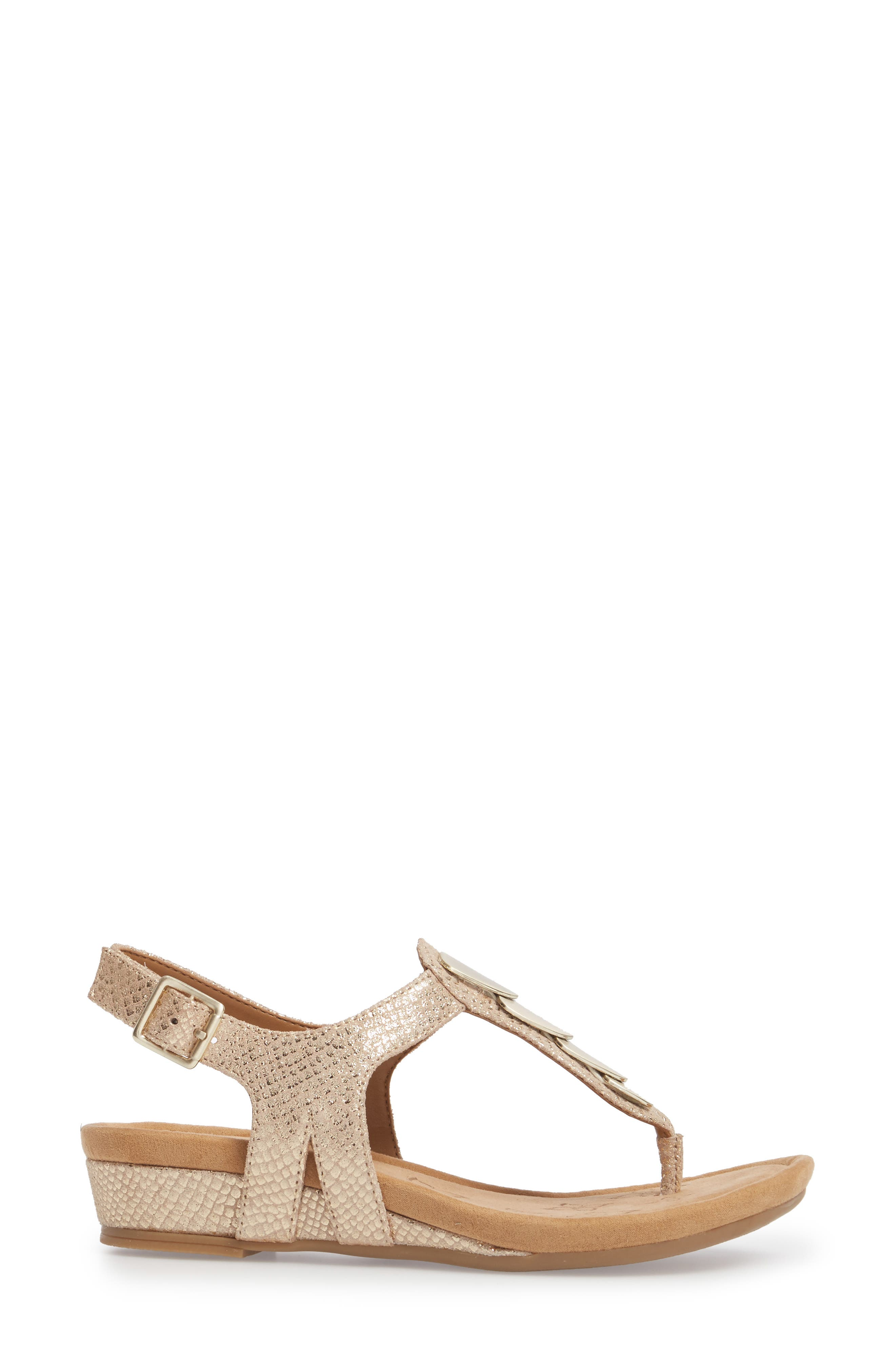 Summit Wedge Sandal,                             Alternate thumbnail 3, color,                             Gold Suede