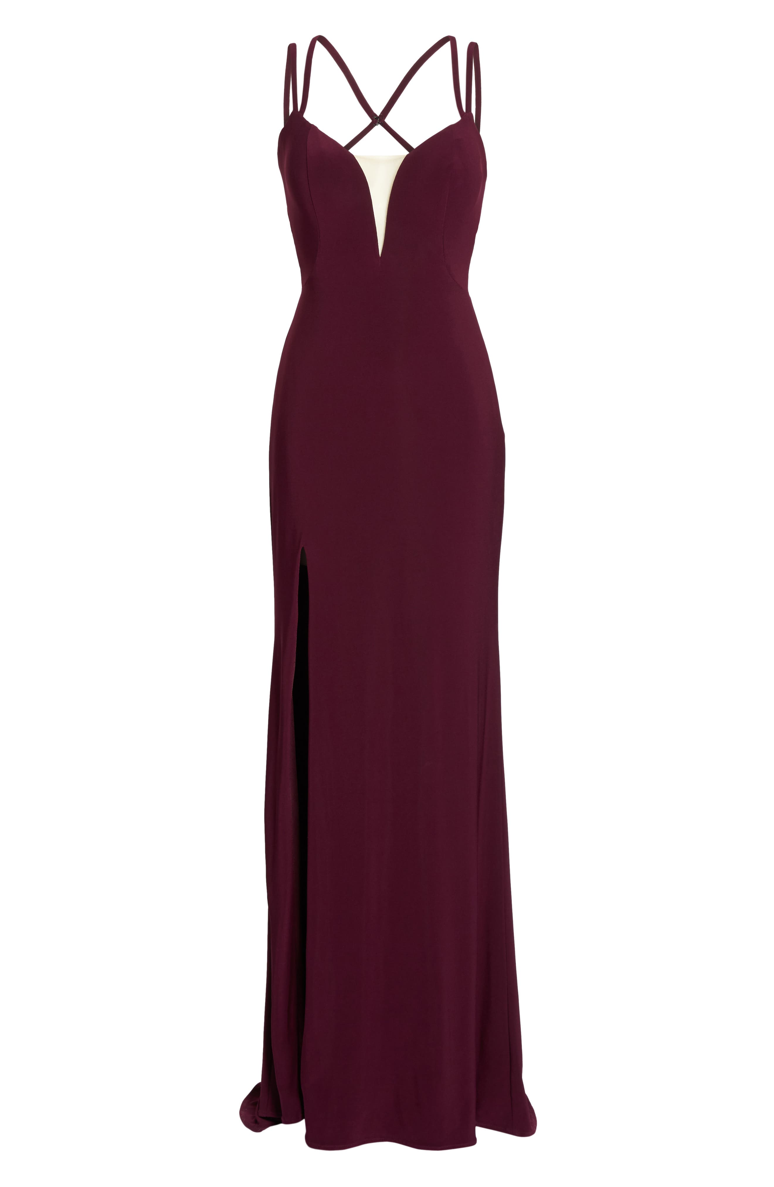 Alternate Image 6  - La Femme Open Back Jersey Gown