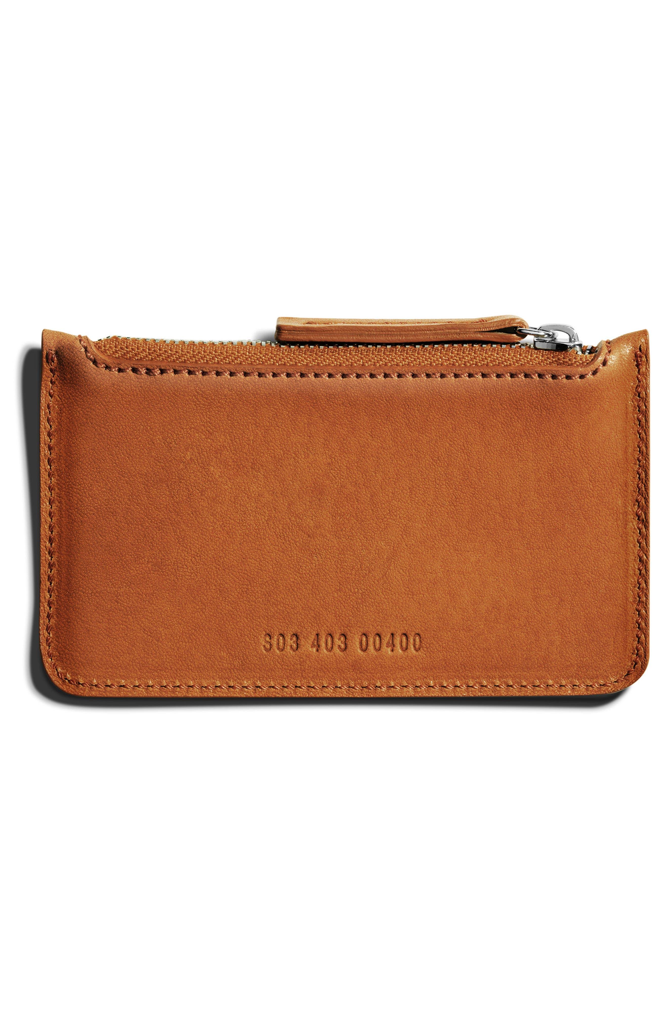 Leather Zip Pouch,                             Alternate thumbnail 2, color,                             Bourbon