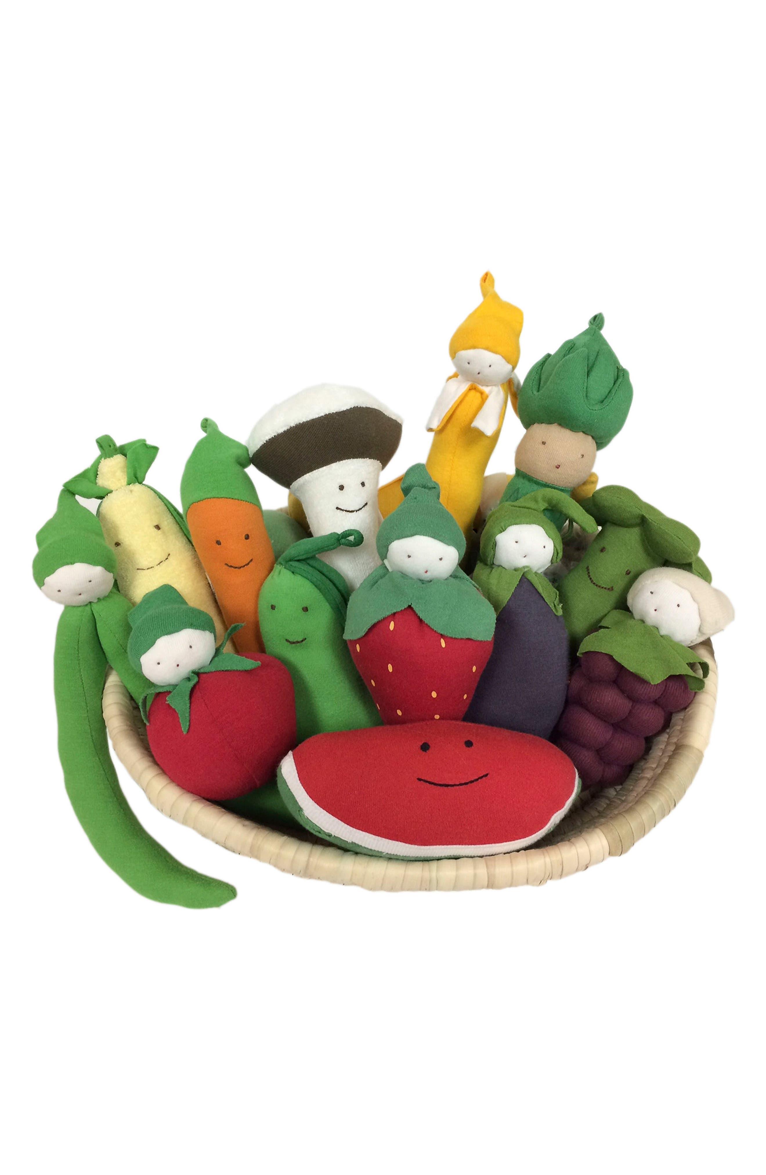 14-Piece Stuffed Fruit & Vegetable Basket,                         Main,                         color, Brown