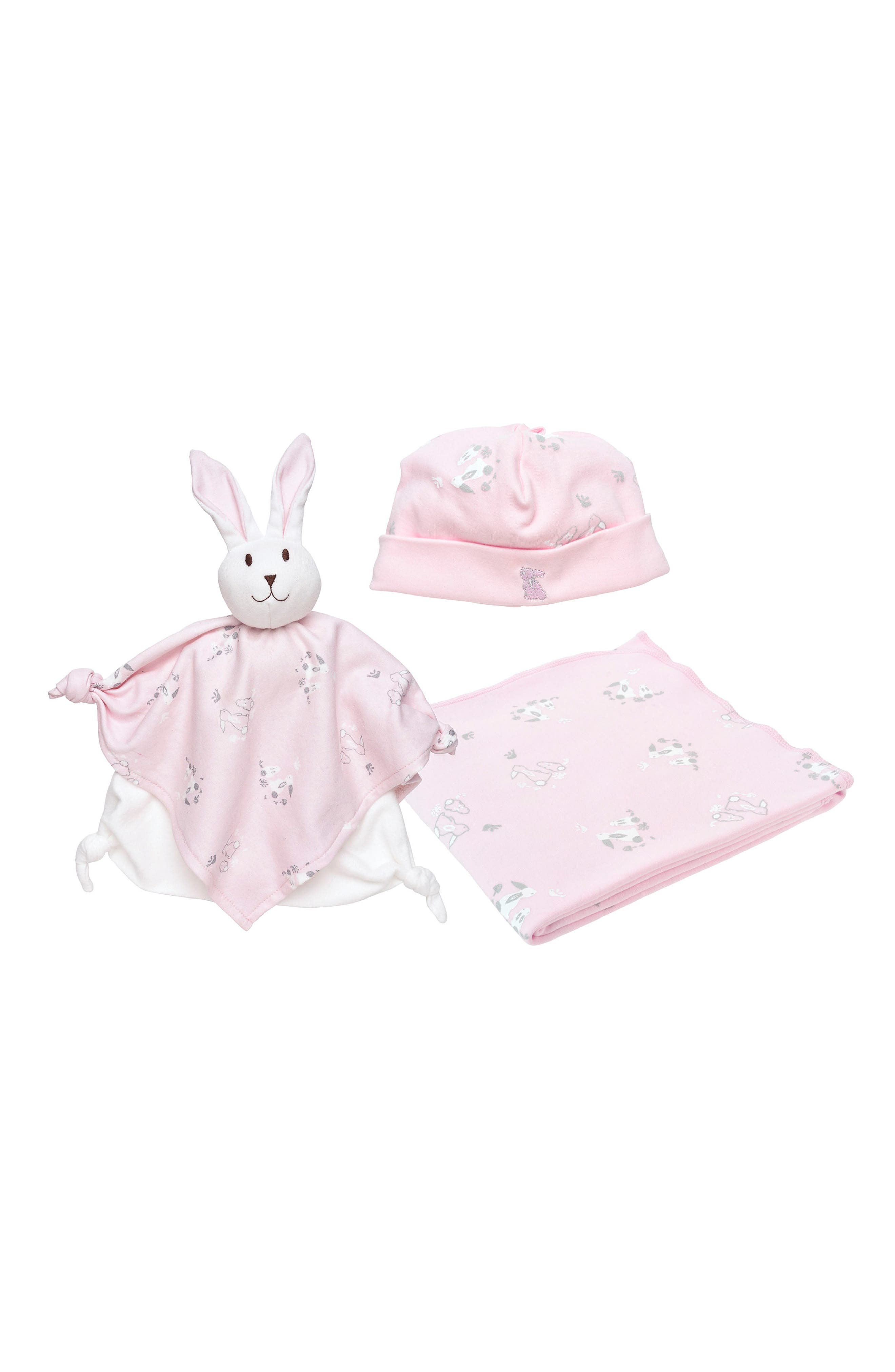 3-Piece Bunny Print Swaddle Blanket, Beanie & Lovey Toy Set,                             Main thumbnail 1, color,                             Pink