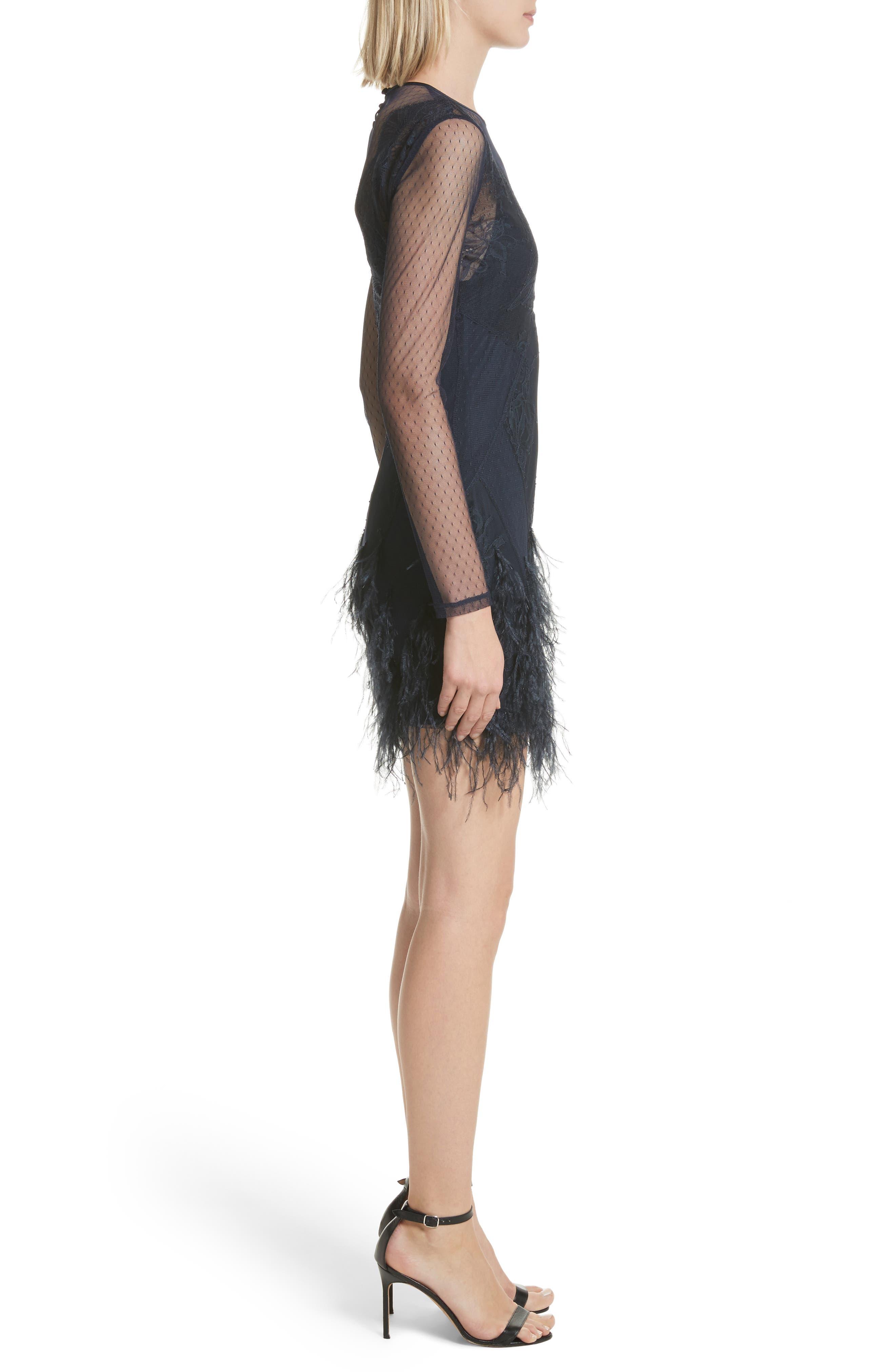 Amabella Feather Trim Dress,                             Alternate thumbnail 3, color,                             Navy