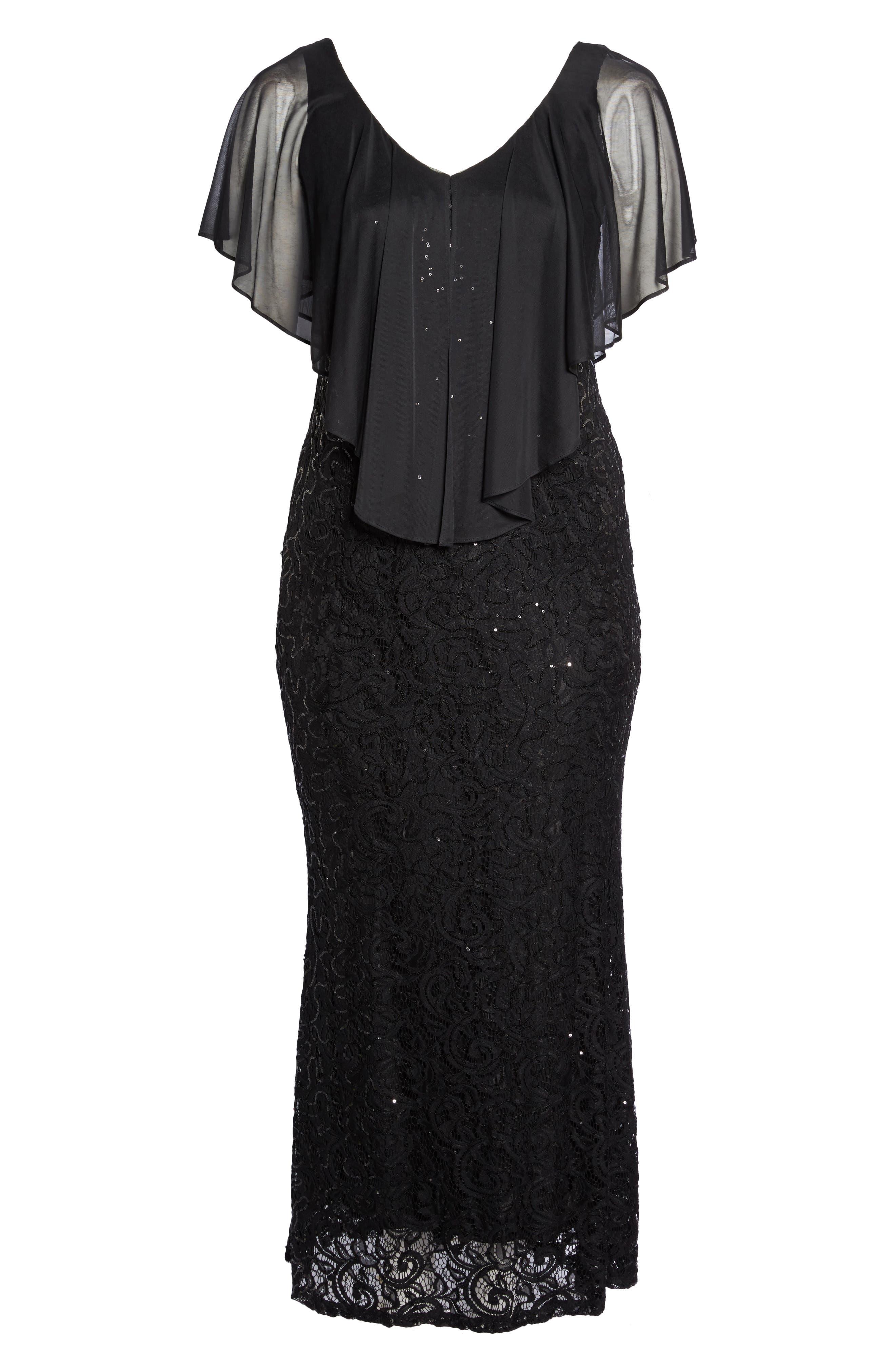 Capelet Sequin Lace A-Line Gown,                             Alternate thumbnail 6, color,                             Black