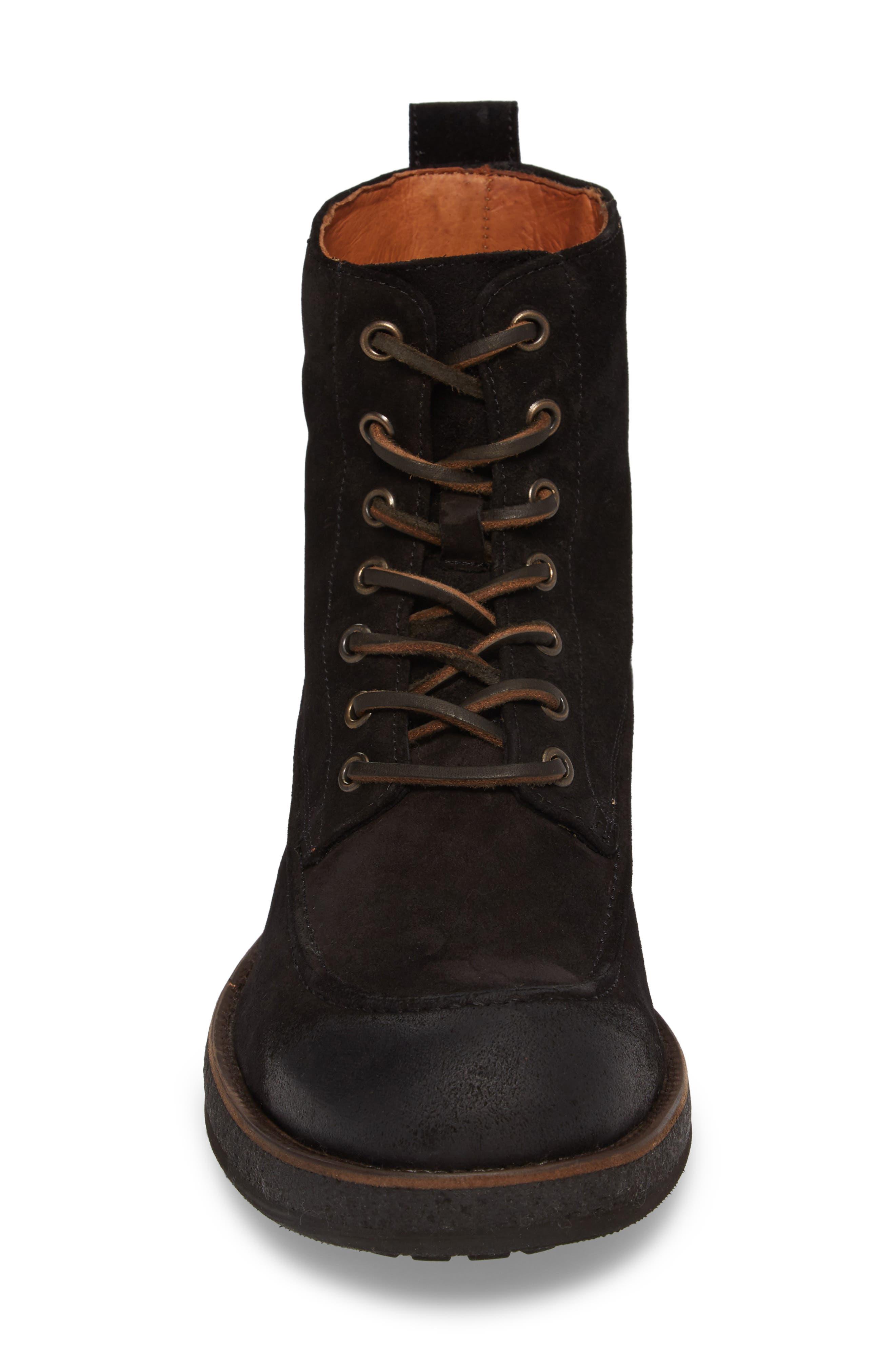 Rainier Waxed Work Boot,                             Alternate thumbnail 4, color,                             Black Waxed Suede