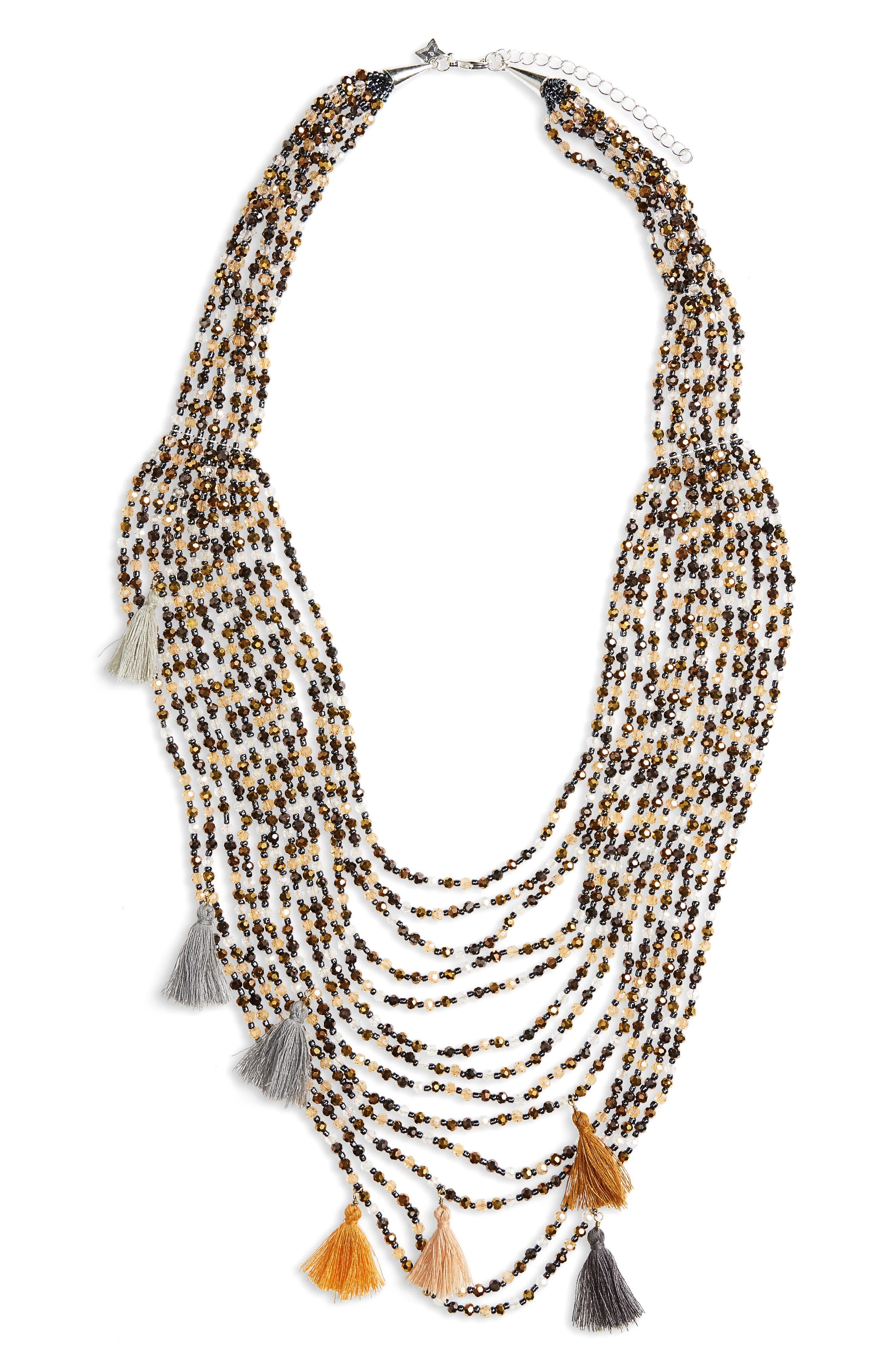 Multistrand Crystal Statement Necklace,                         Main,                         color, Multi