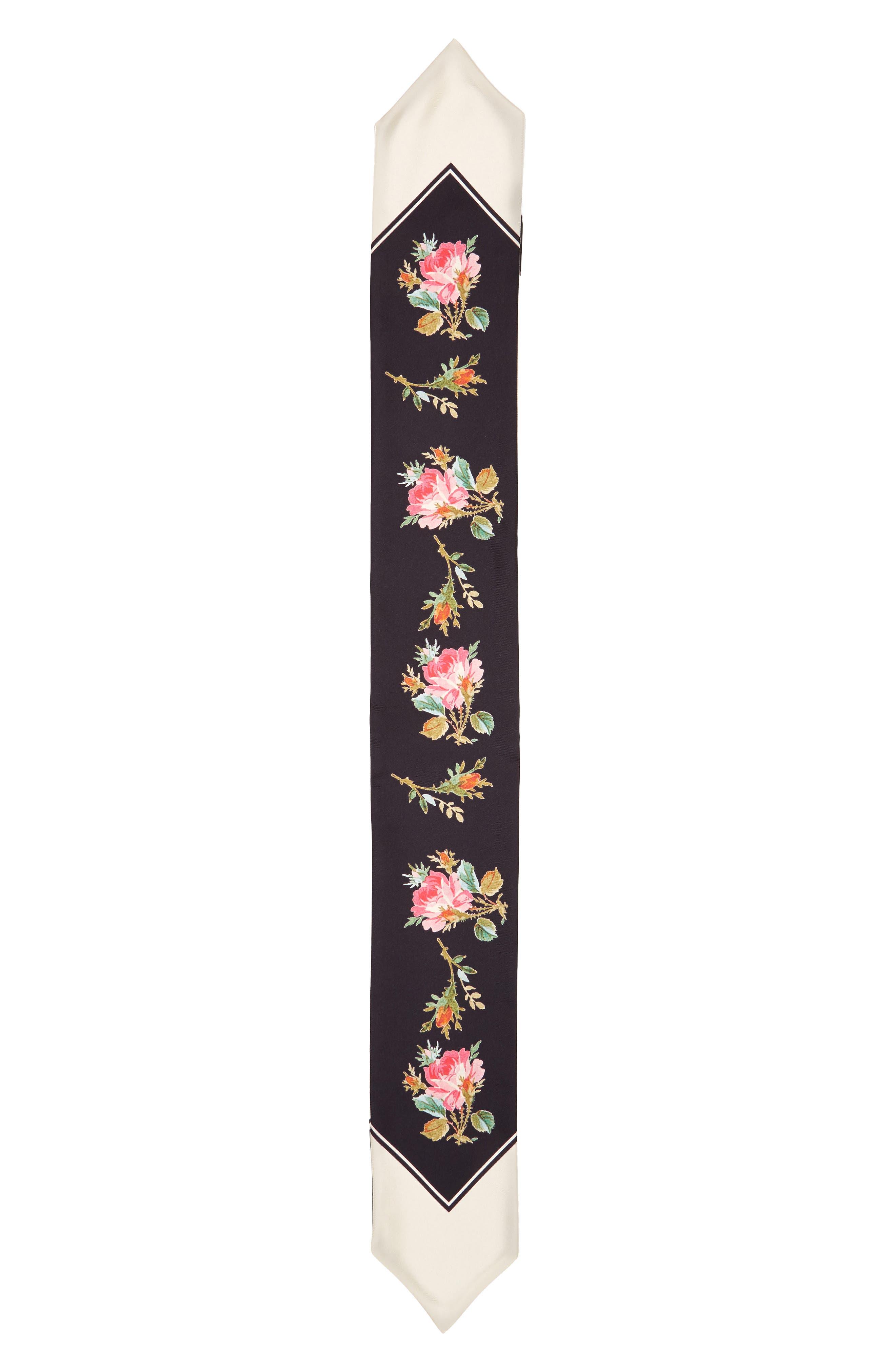 Floral Print Silk Neckerchief Scarf,                         Main,                         color, Black/ Ivory