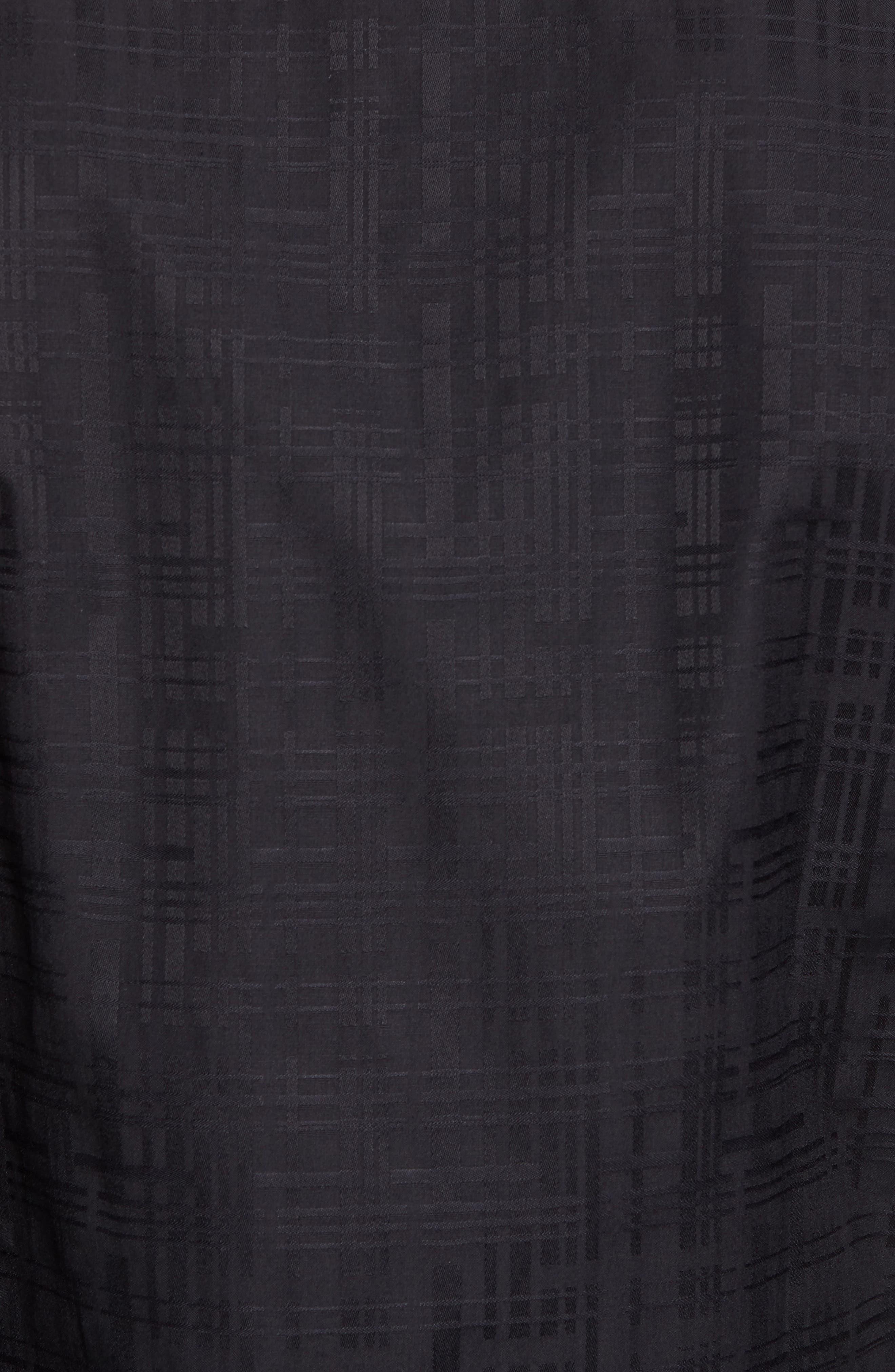 Shaped Fit Tonal Print Sport Shirt,                             Alternate thumbnail 5, color,                             Black