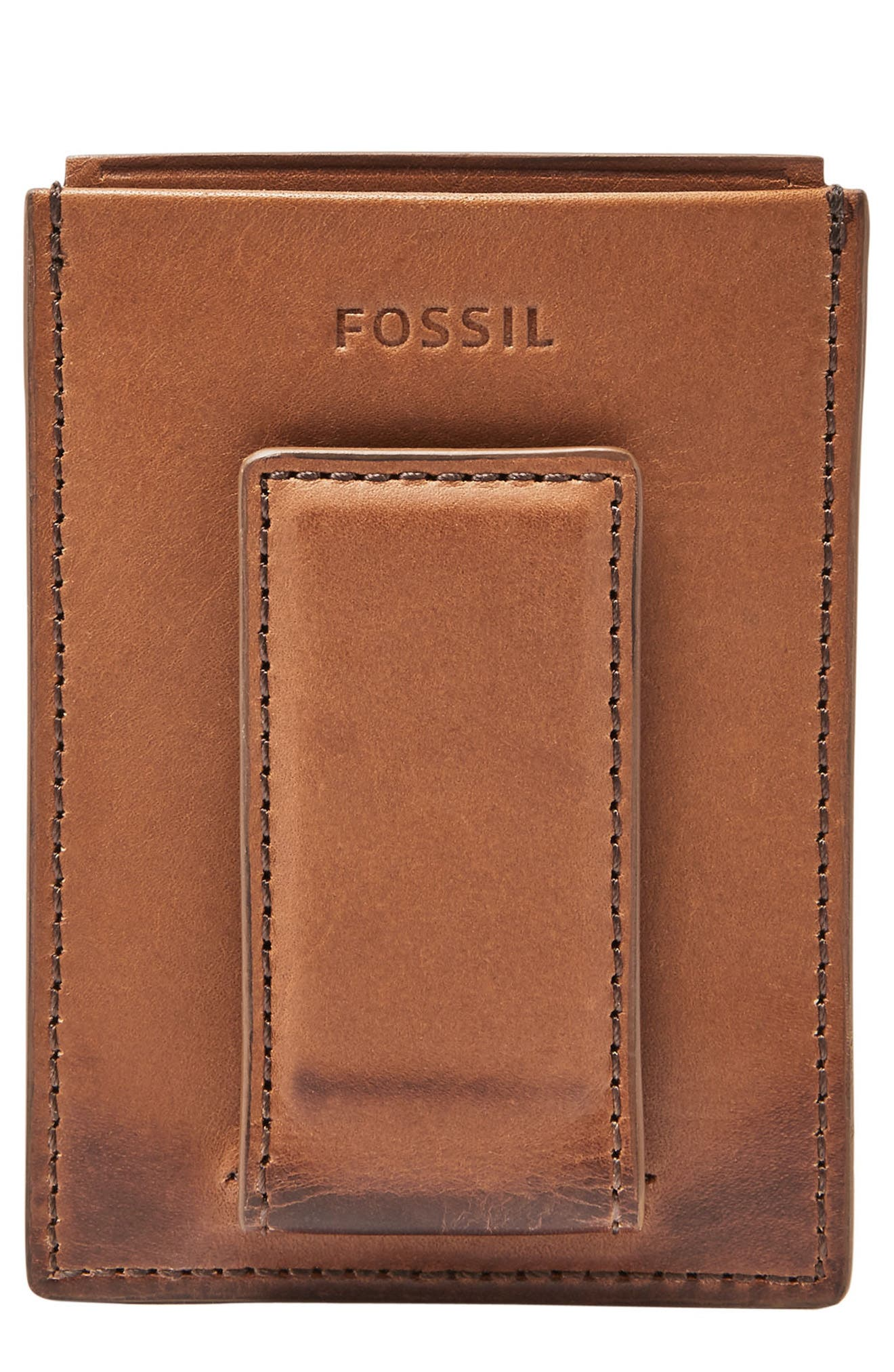 Paul Leather Card Case,                             Main thumbnail 1, color,                             Cognac