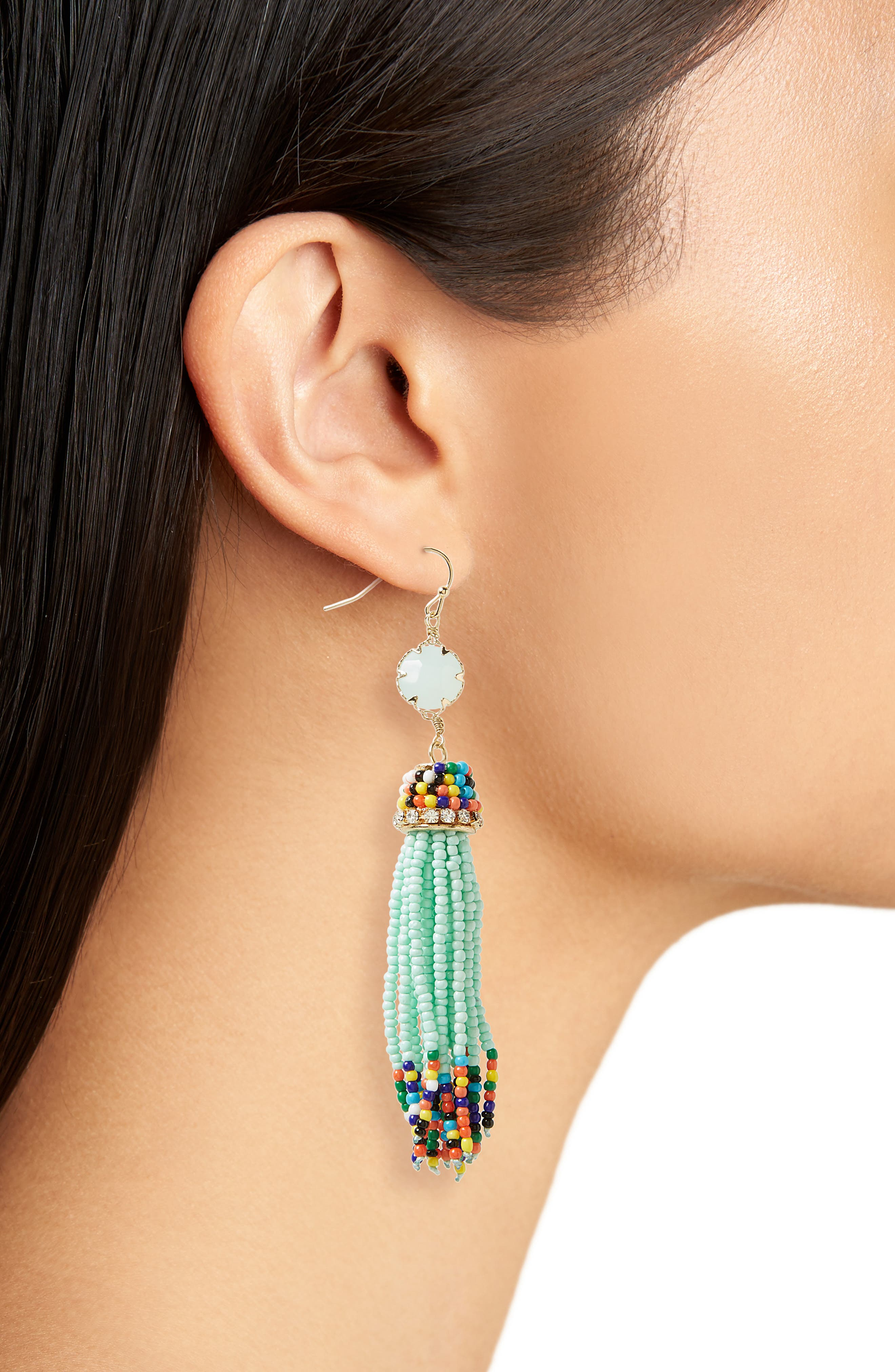 Beaded Drop Earrings,                             Alternate thumbnail 2, color,                             Mint
