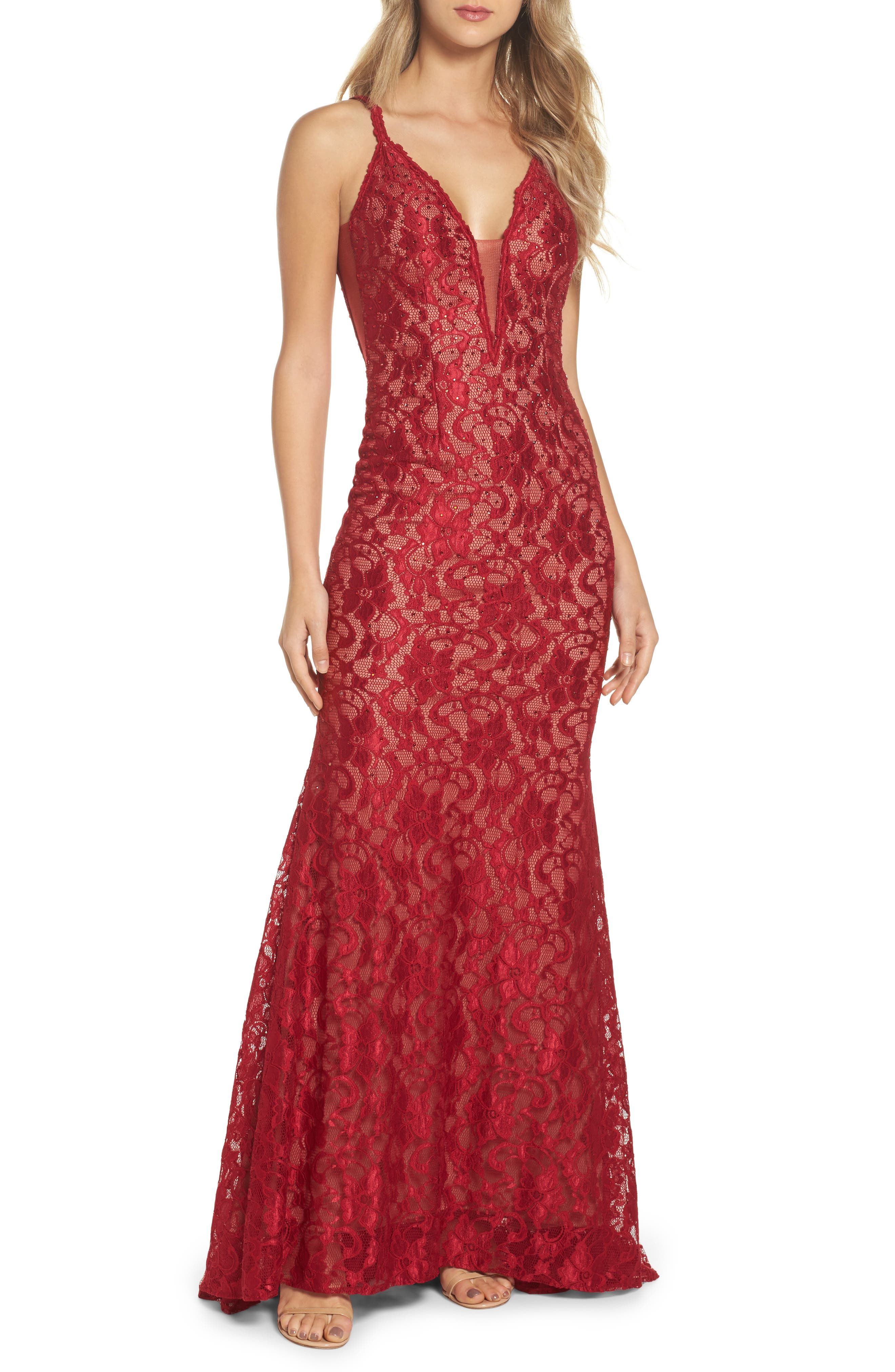 Plunging Beaded Lace Mermaid Gown,                         Main,                         color, Red/ Tan