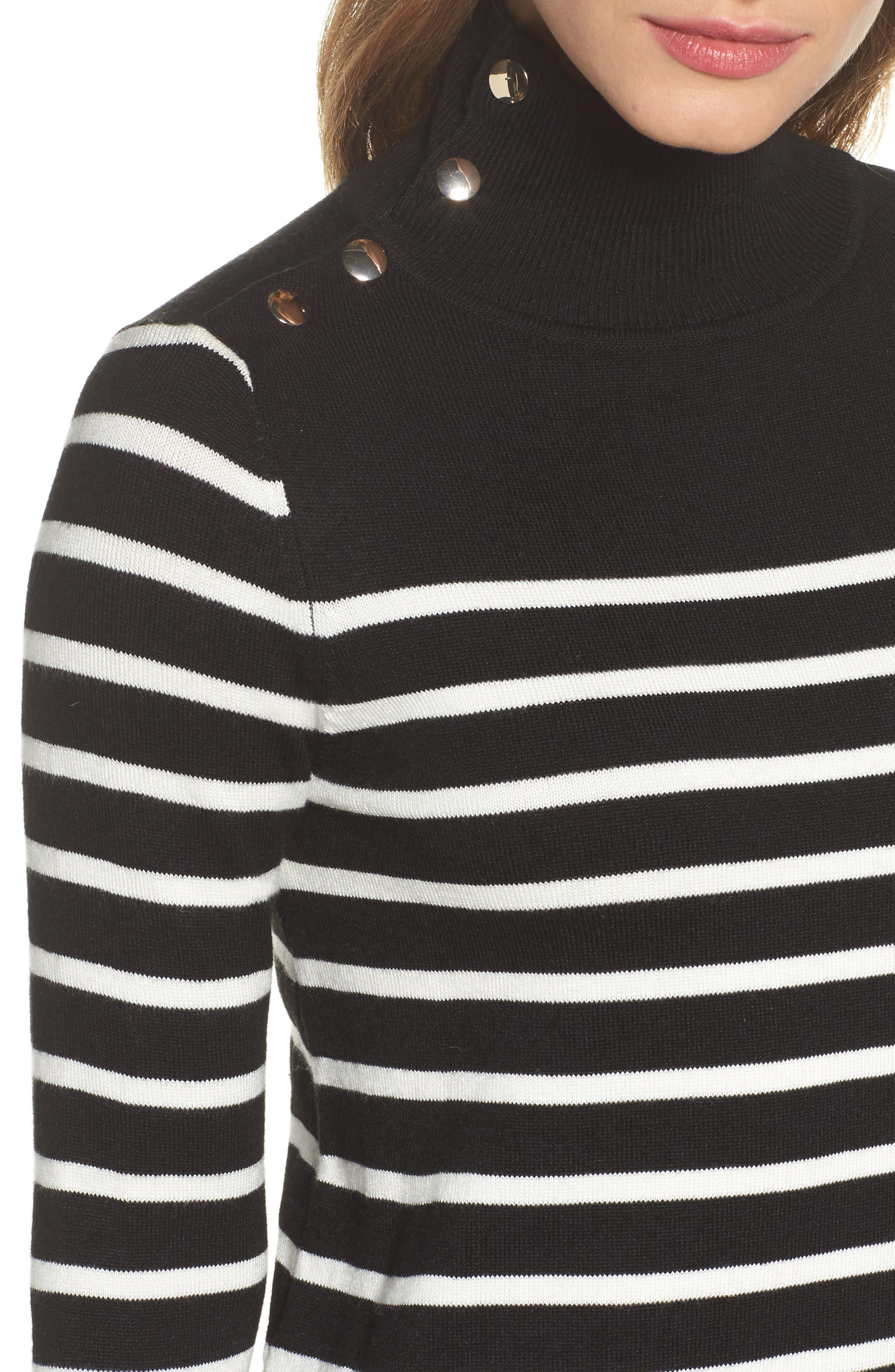 Alternate Image 4  - Eliza J Mockneck Stripe Shift Dress