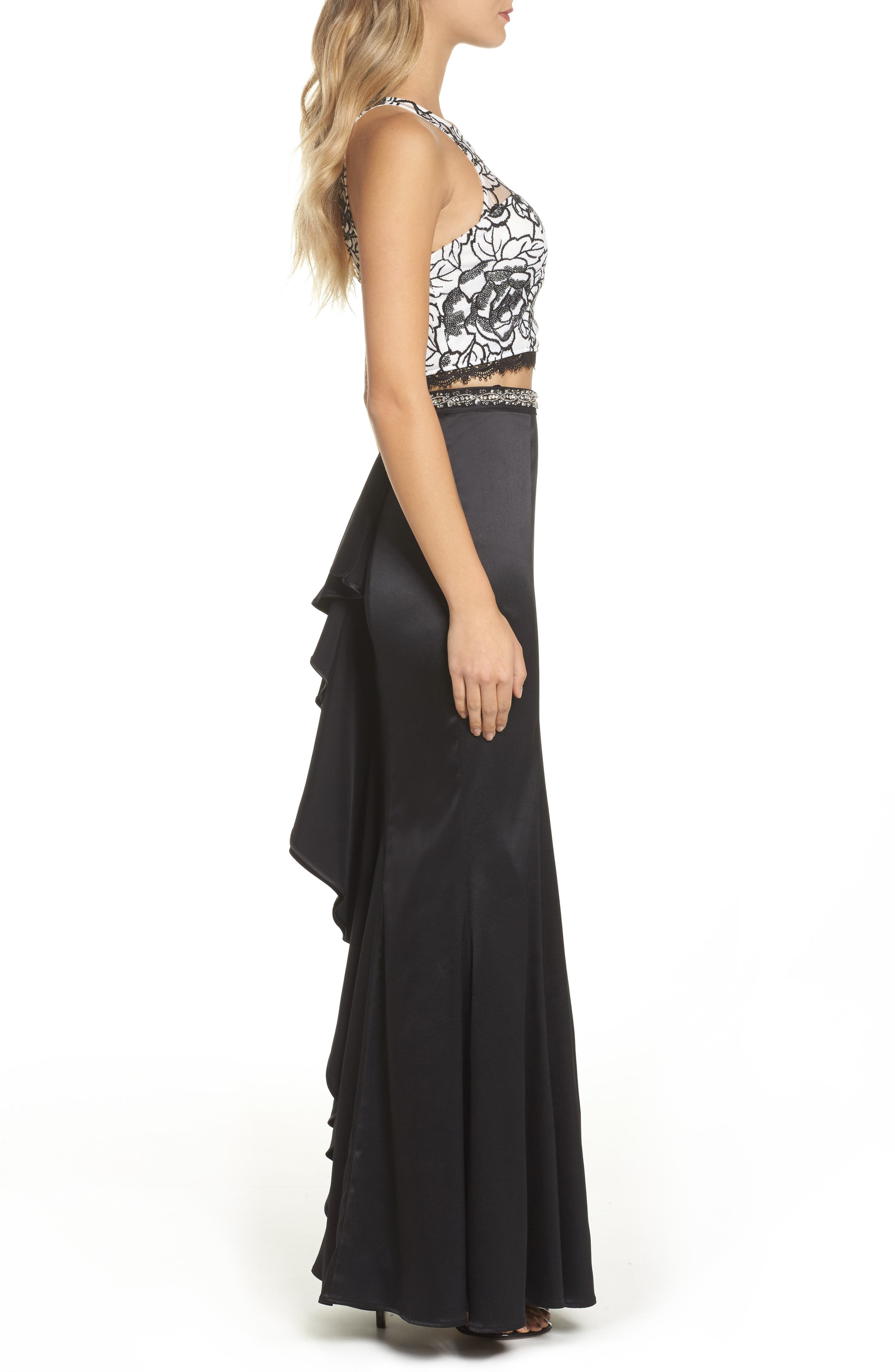 Sequined Lace Two-Piece Gown,                             Alternate thumbnail 3, color,                             Black/ Ivory