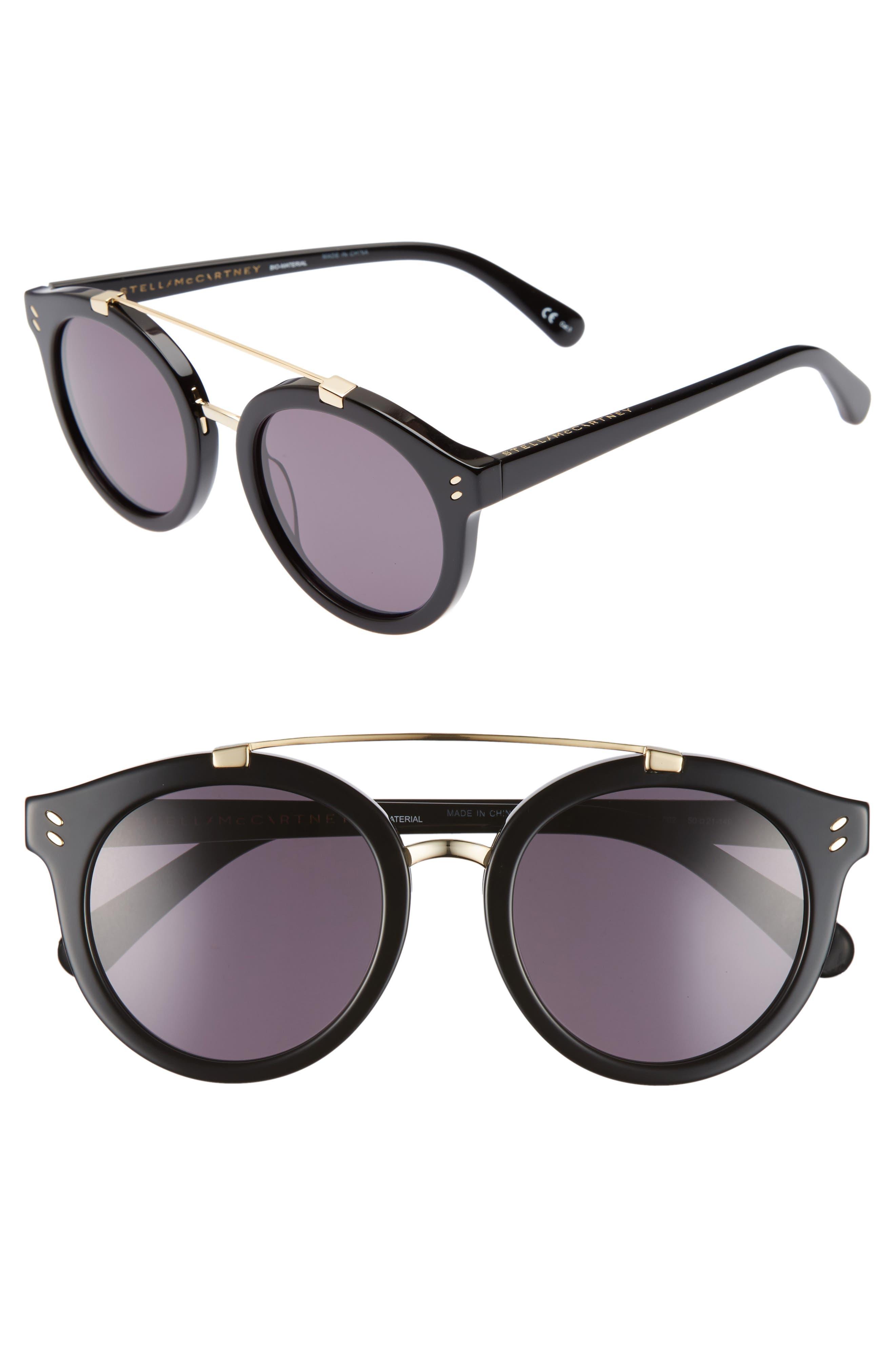 50mm Round Sunglasses,                         Main,                         color, Black