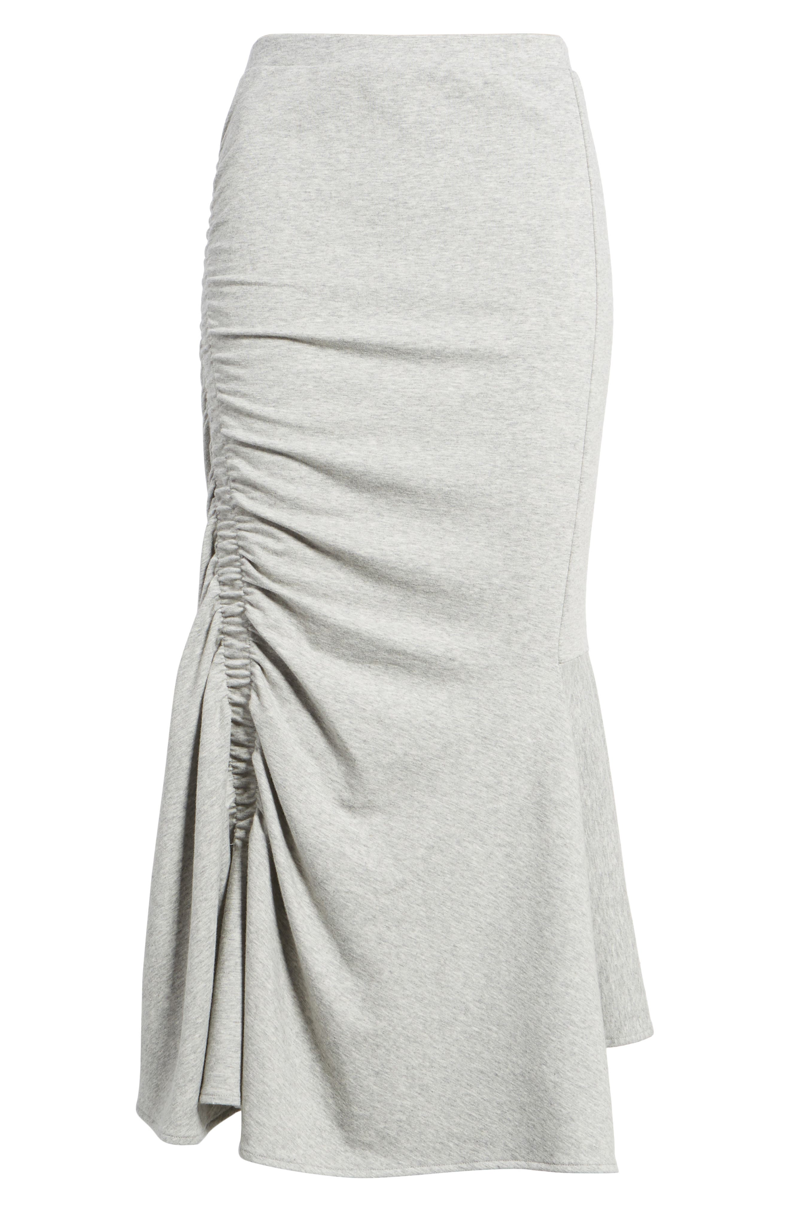 Ruched Fluted Midi Skirt,                             Alternate thumbnail 6, color,                             Grey Heather