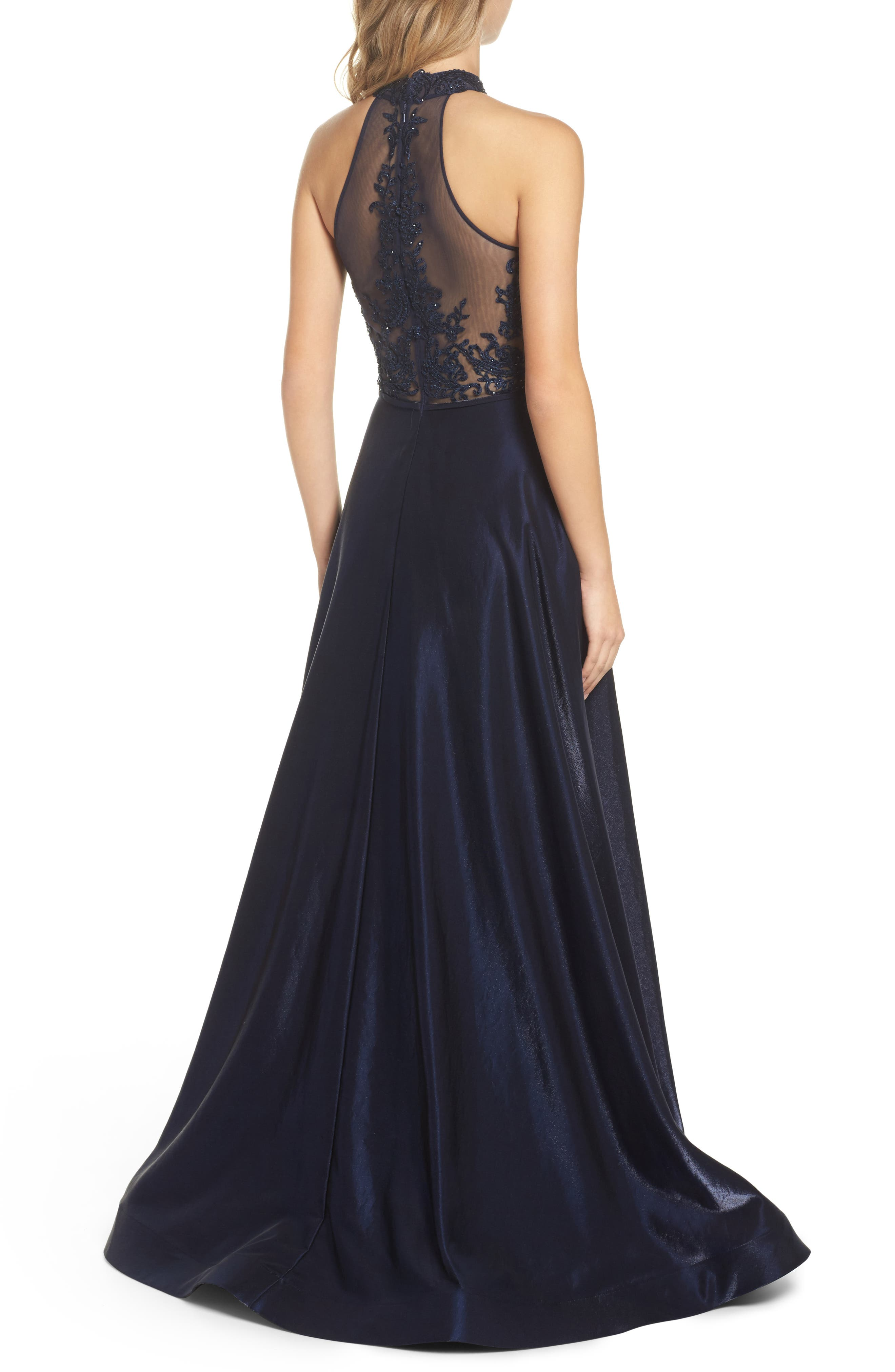 Embroidered Lace & Satin A-Line Ballgown,                             Alternate thumbnail 2, color,                             Navy