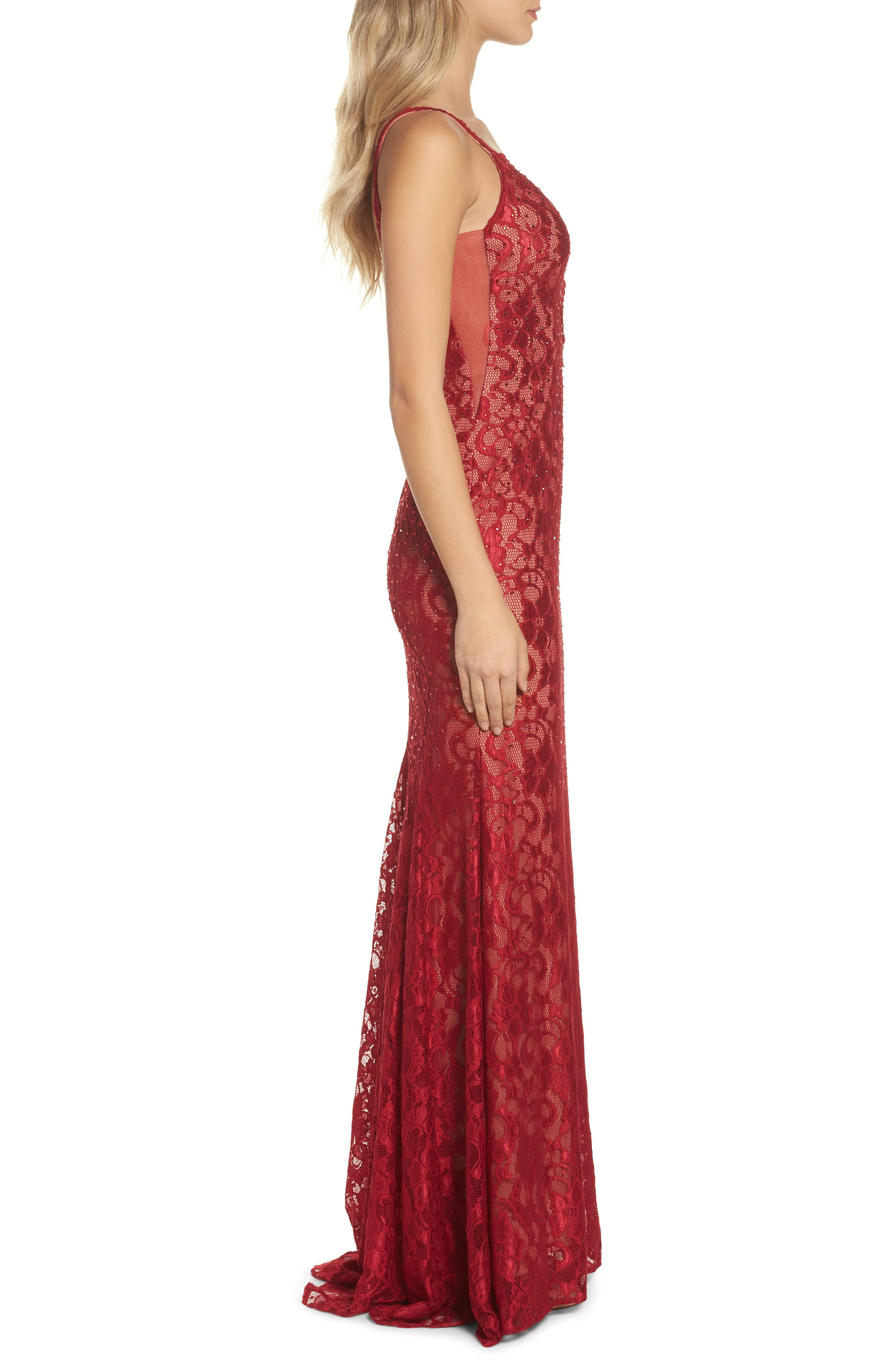 Plunging Beaded Lace Mermaid Gown,                             Alternate thumbnail 3, color,                             Red/ Tan