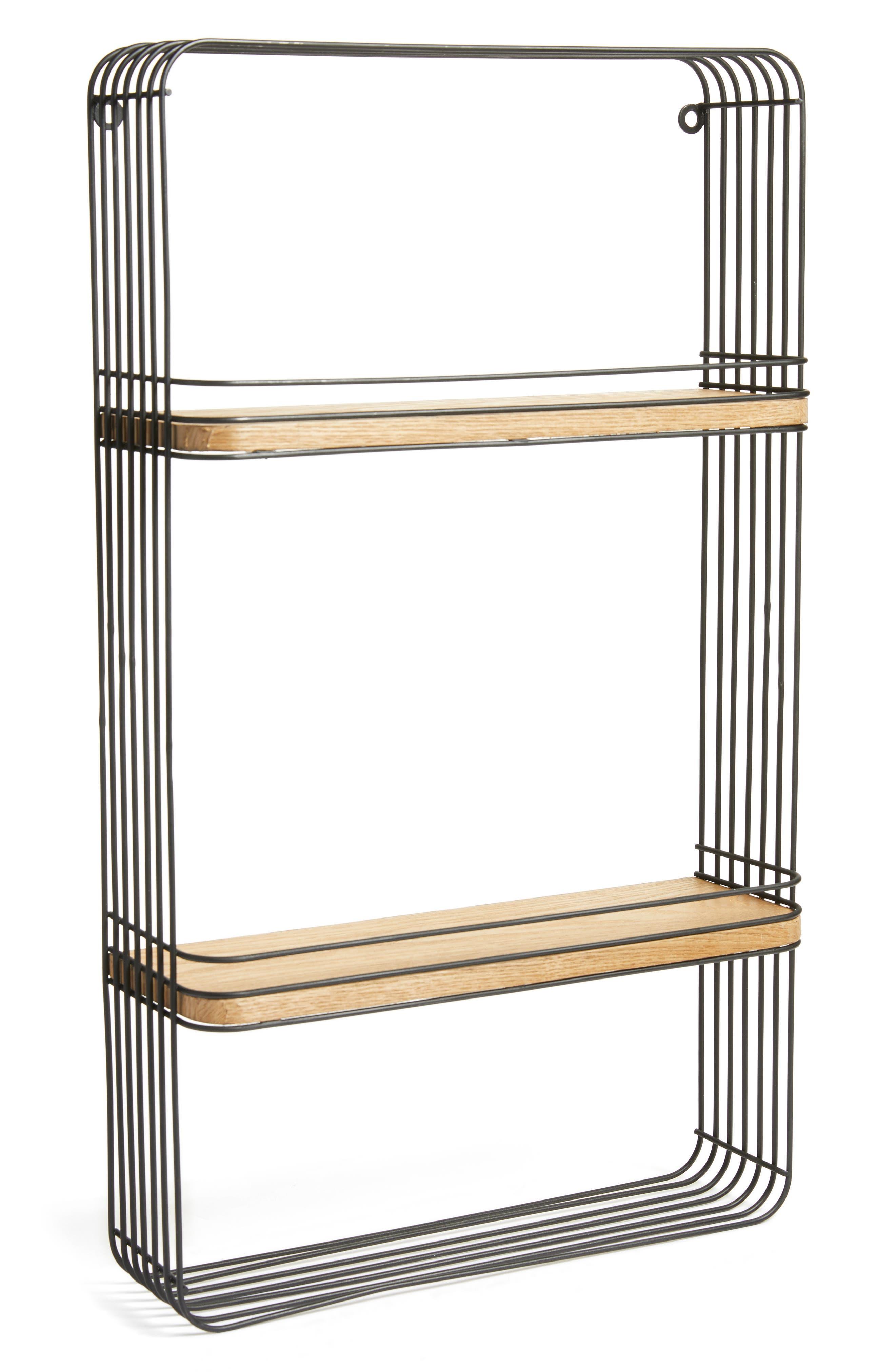 Metal & Wood Wall Shelf,                         Main,                         color, Black