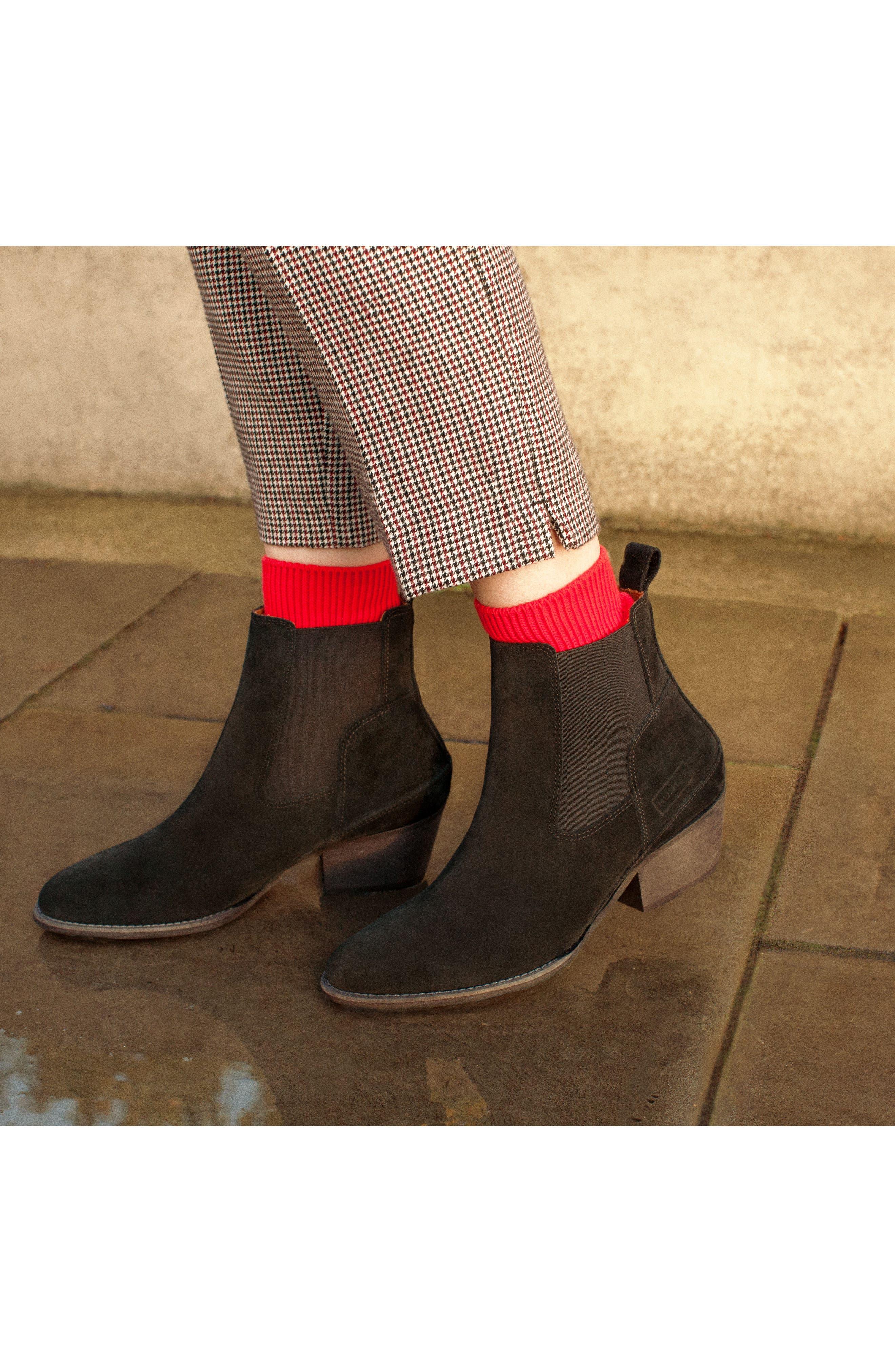 Original Refined Water Resistant Chelsea Boot,                             Alternate thumbnail 7, color,                             Black Suede