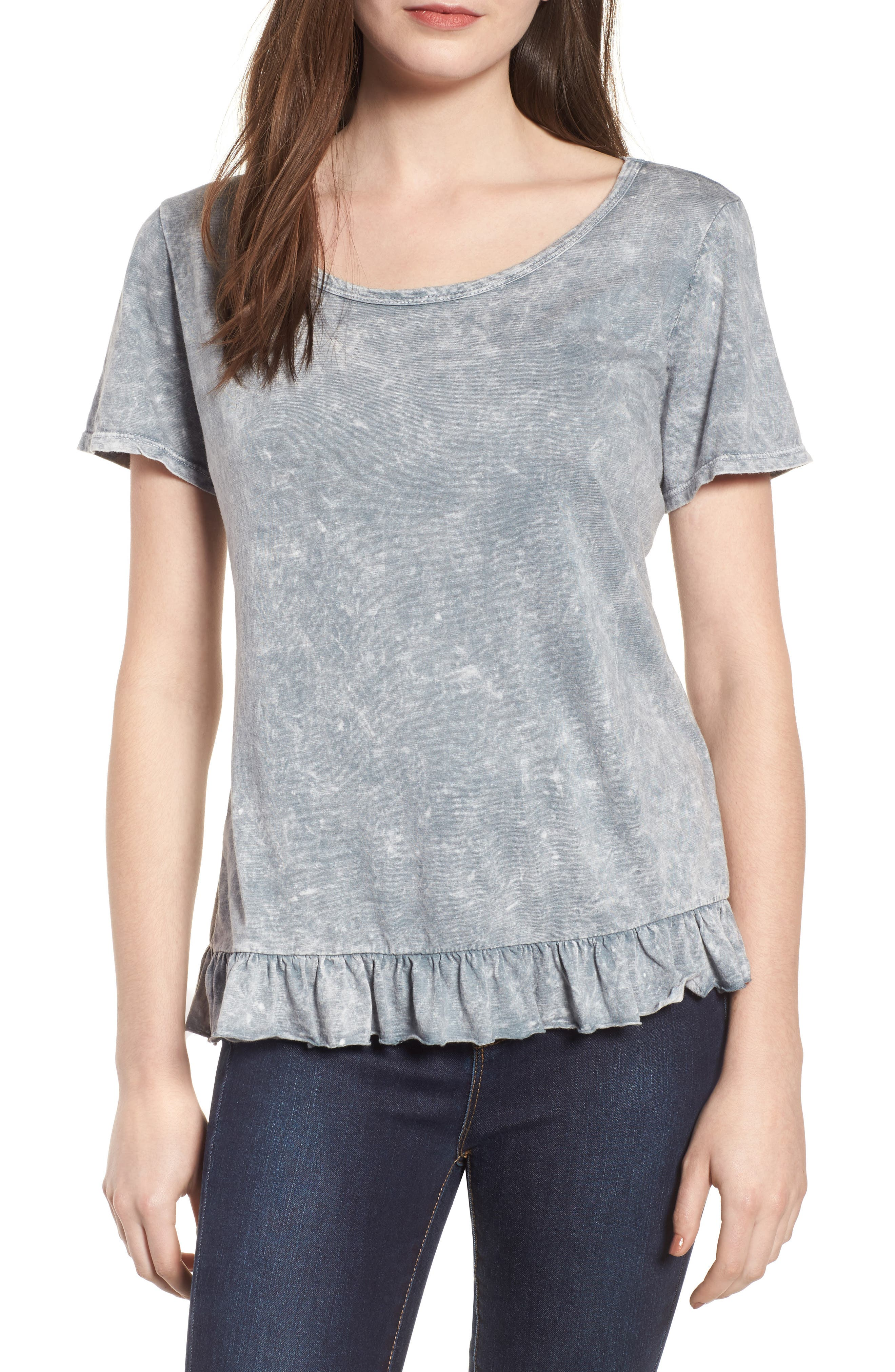 Alternate Image 1 Selected - Socialite Mineral Wash Ruffle Hem Tee