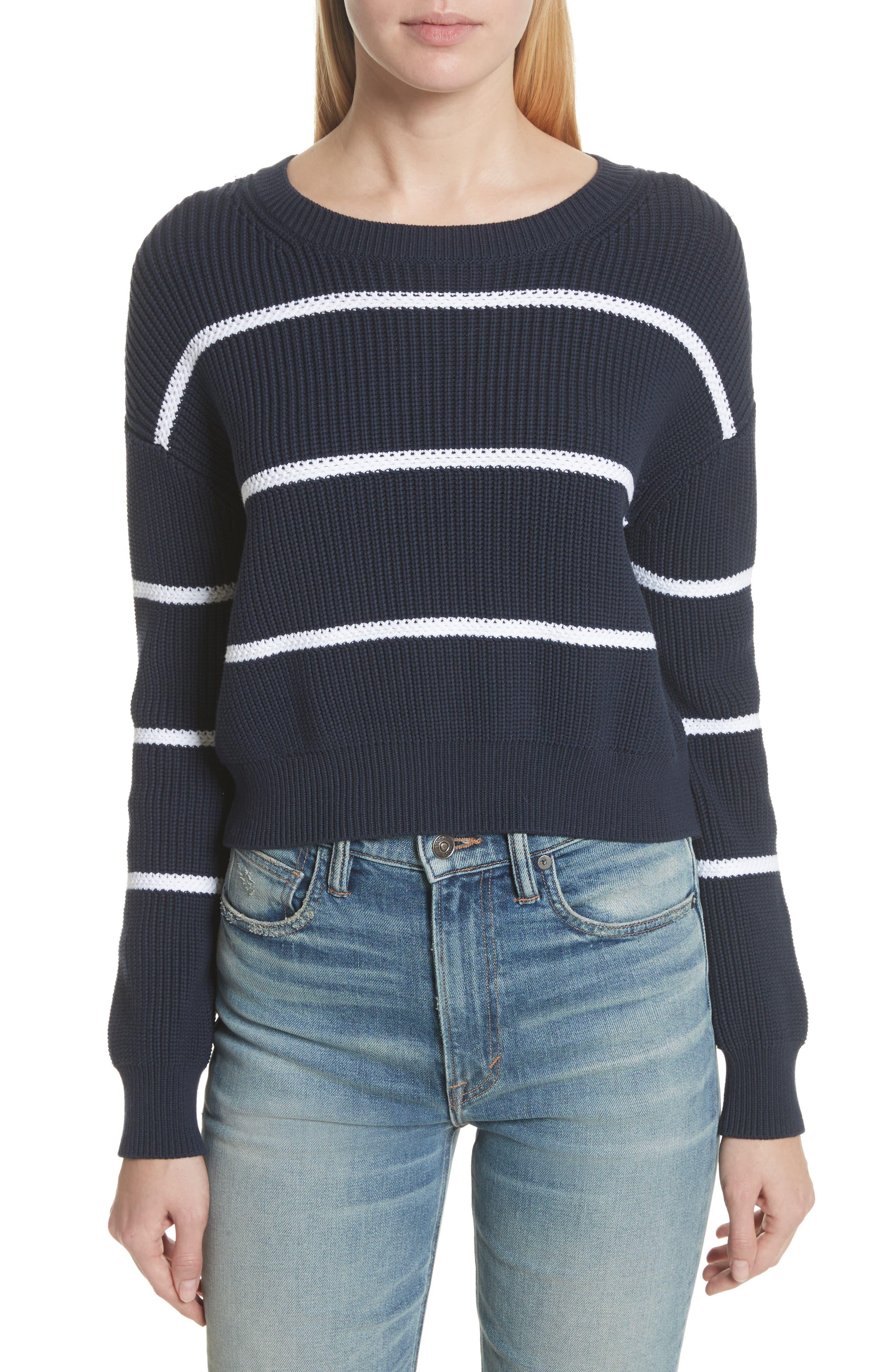 Vince Cotton Blend Rib Knit Stripe Sweater