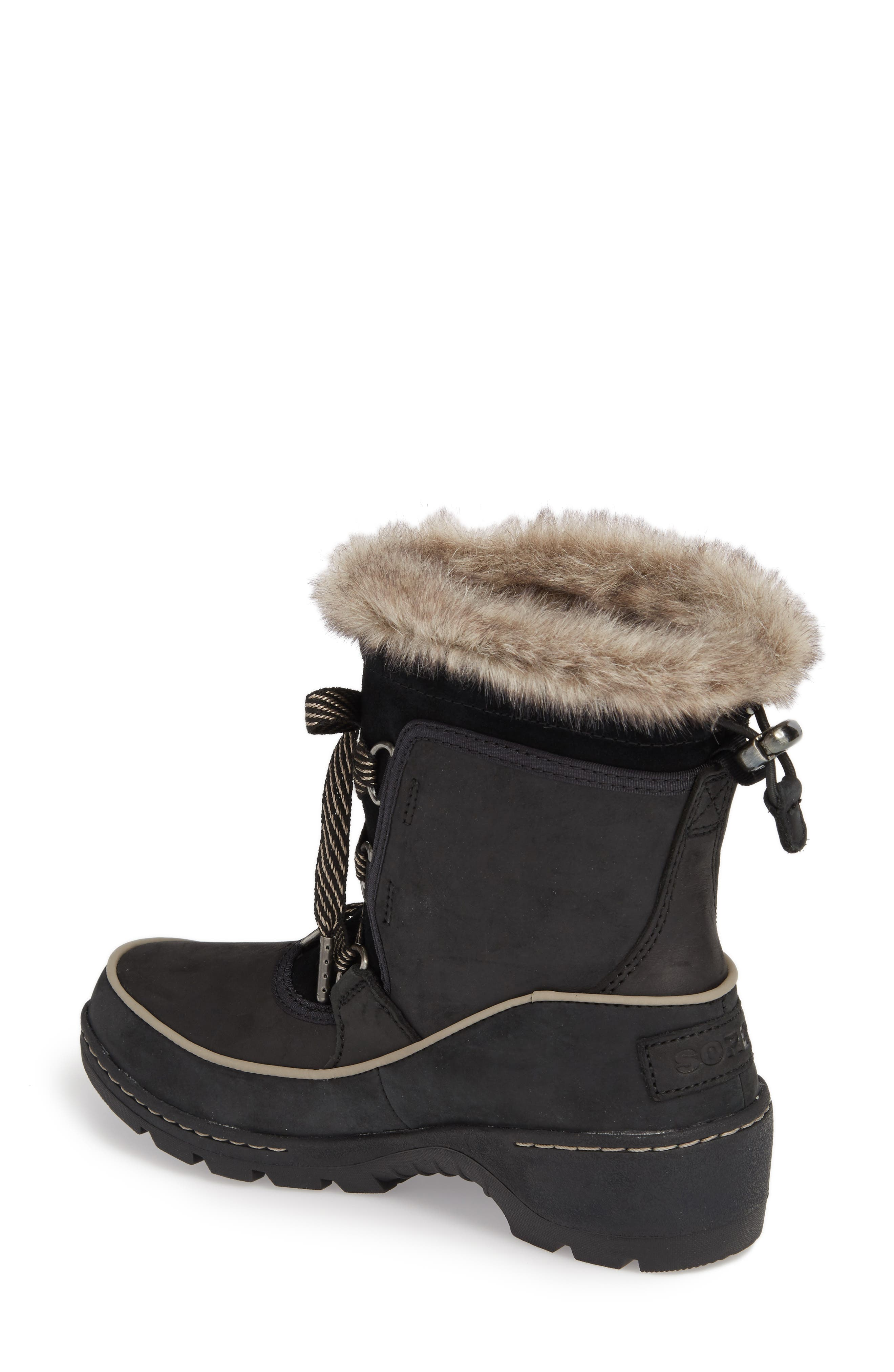 Tivoli II Insulated Winter Boot with Faux Fur Trim,                             Alternate thumbnail 2, color,                             Black/ Kettle