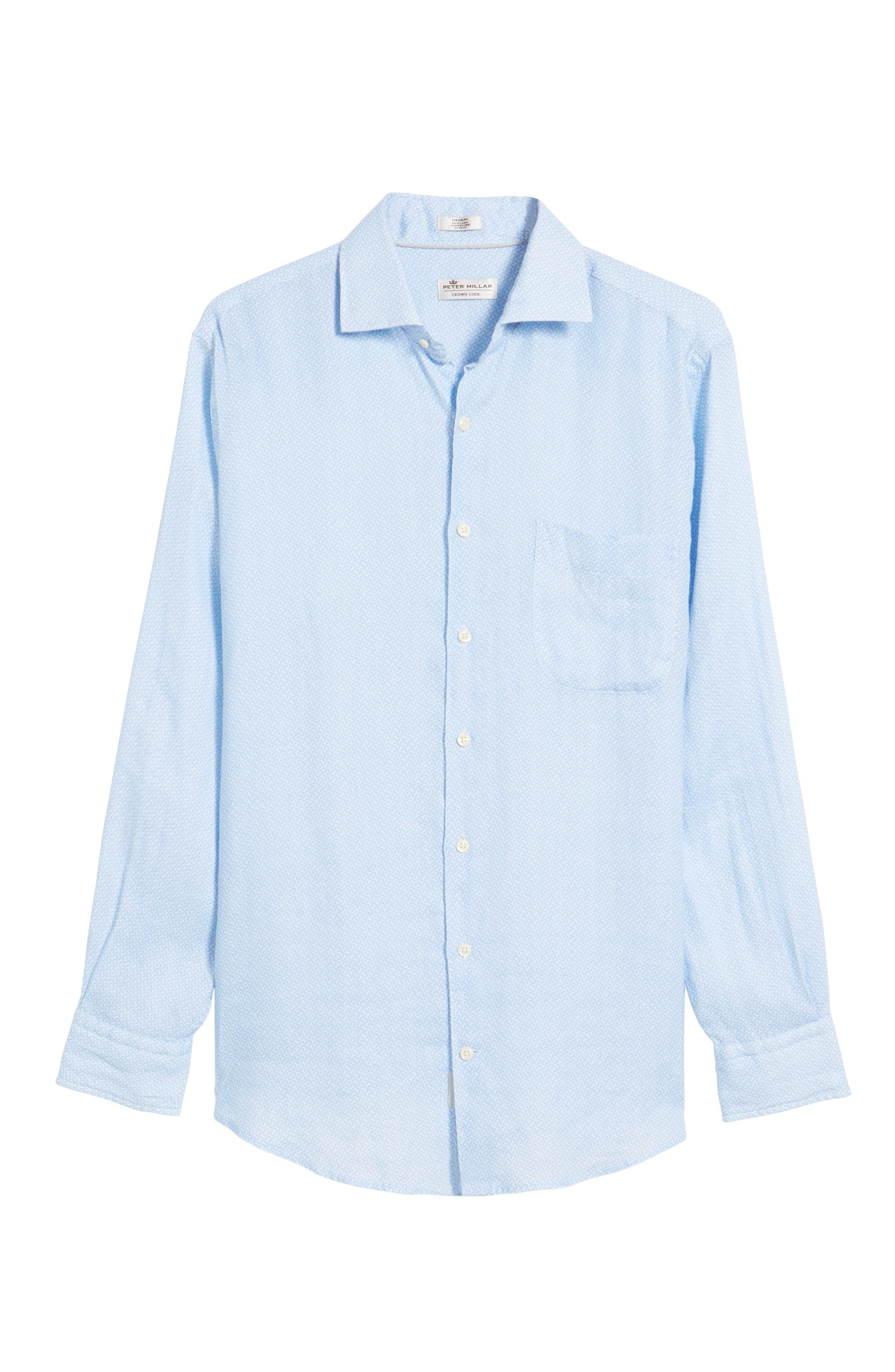 Whirlwind Regular Fit Linen Sport Shirt,                             Alternate thumbnail 6, color,                             Tar Heel Blue