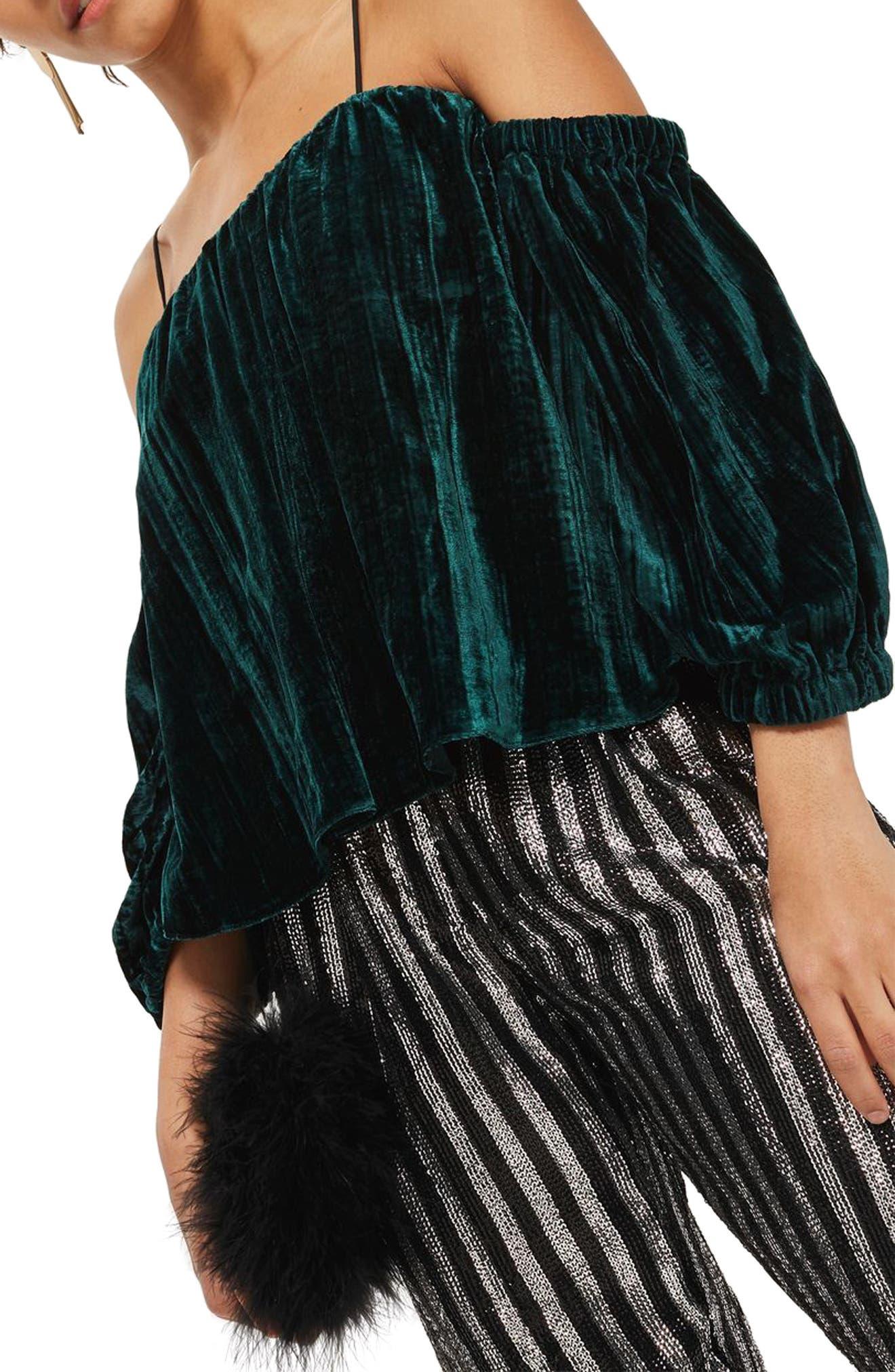 Cold Shoulder Velvet Top,                         Main,                         color, Dark Green