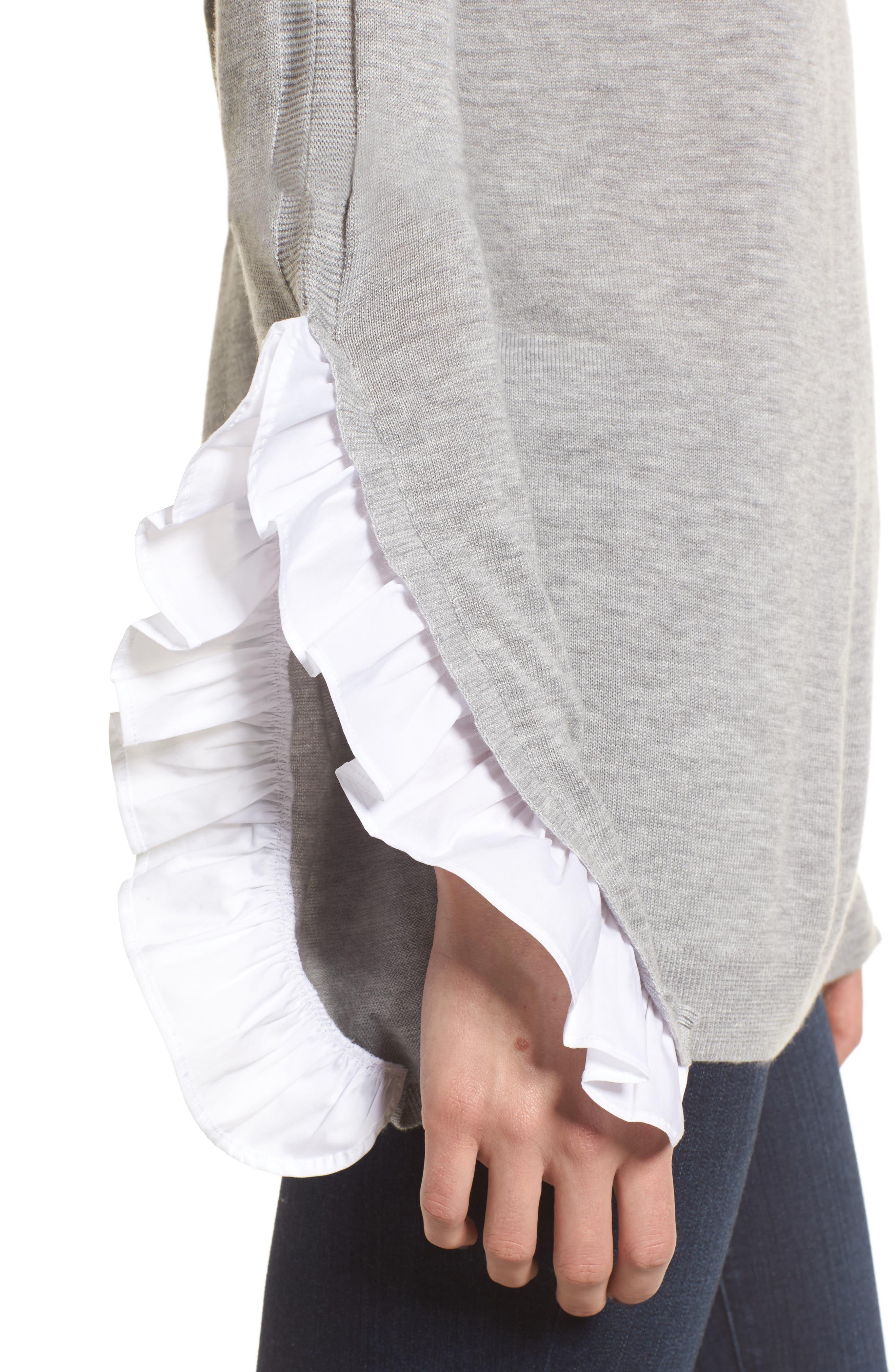 Ruffle Sleeve Sweater,                             Alternate thumbnail 4, color,                             Grey Heather