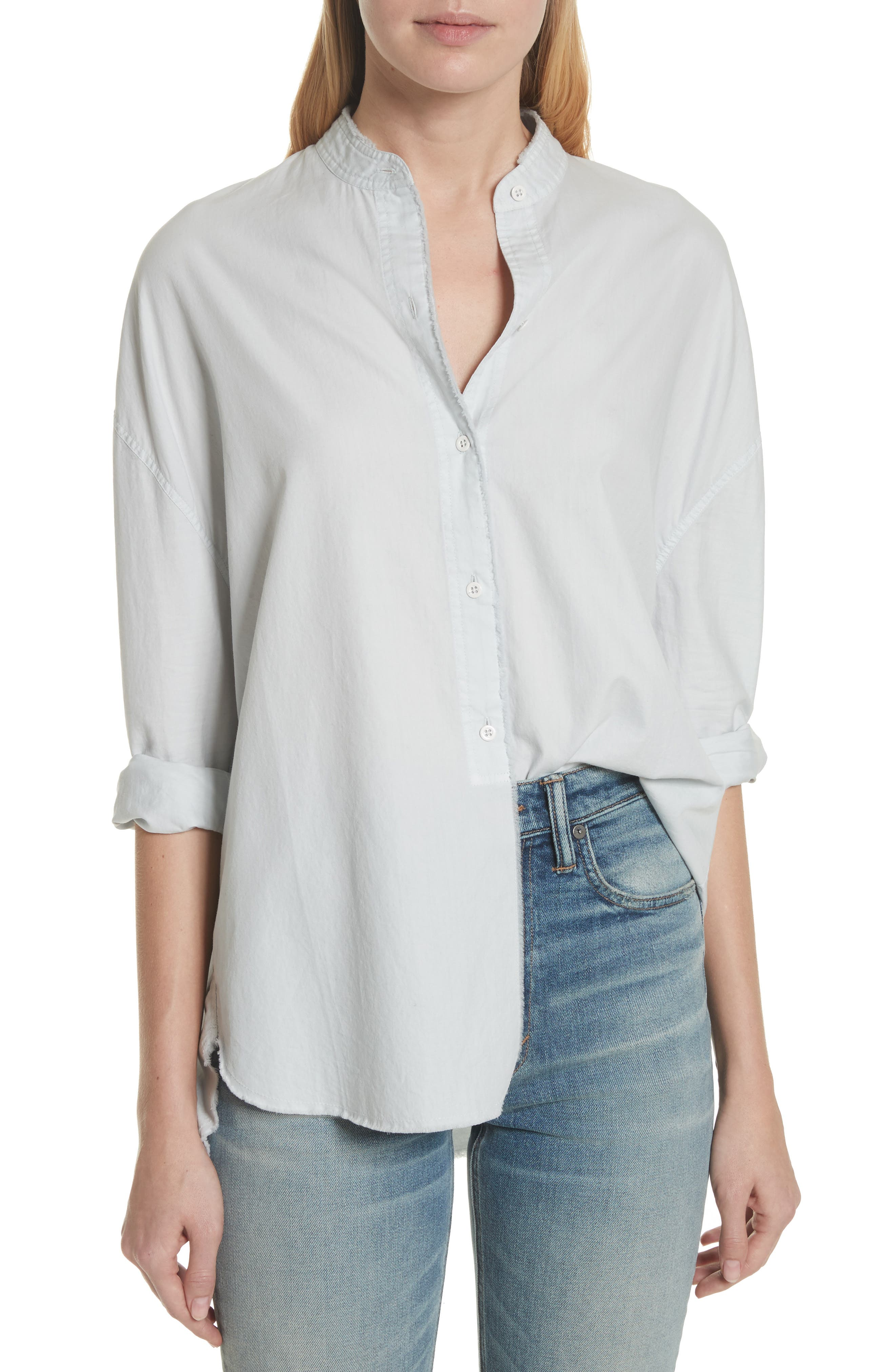 Raw Edge Oversize Long Sleeve Top,                         Main,                         color, Ice Blue