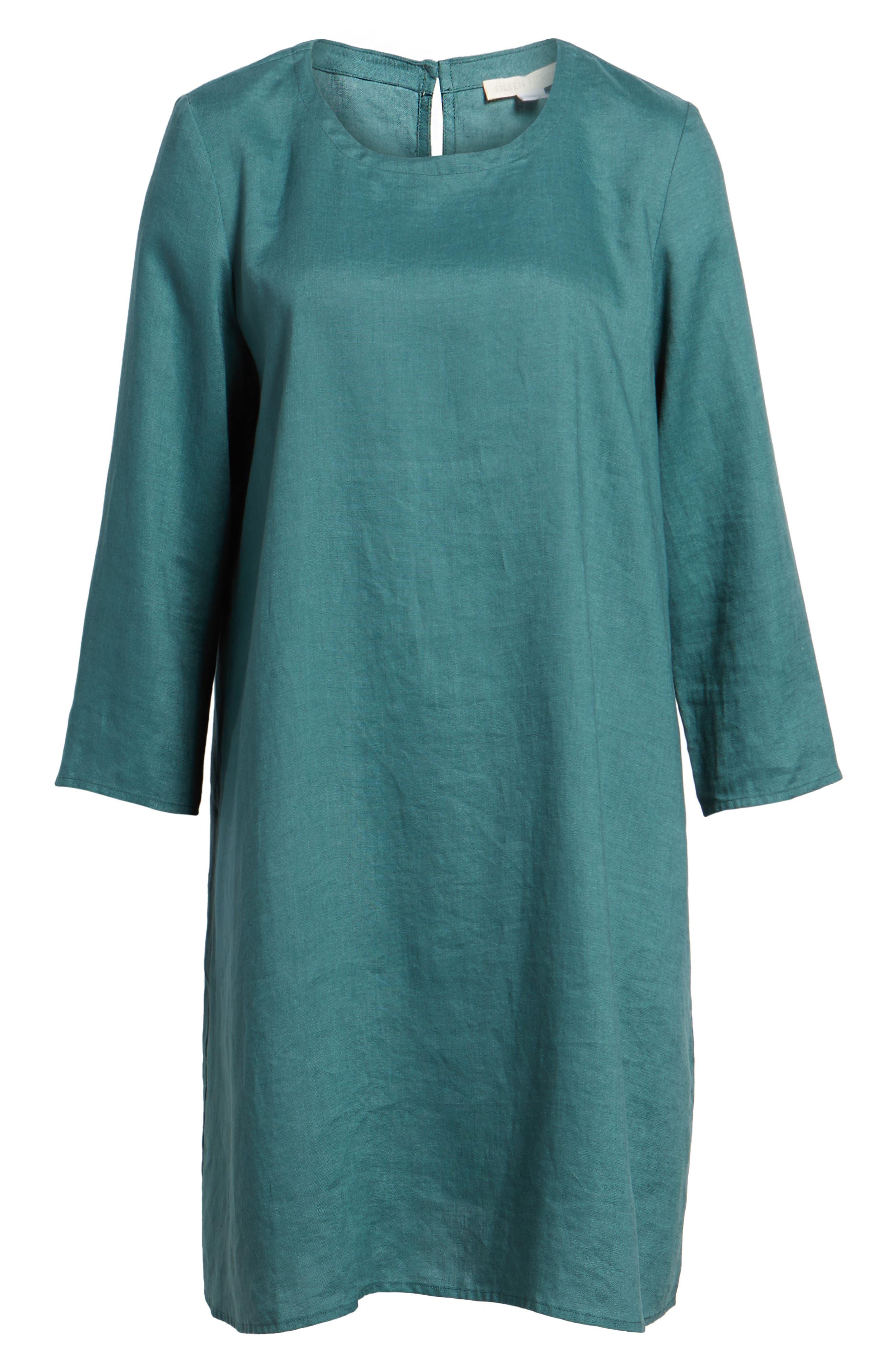 Organic Linen Round Neck Shift Dress,                             Alternate thumbnail 6, color,                             Dragonfly