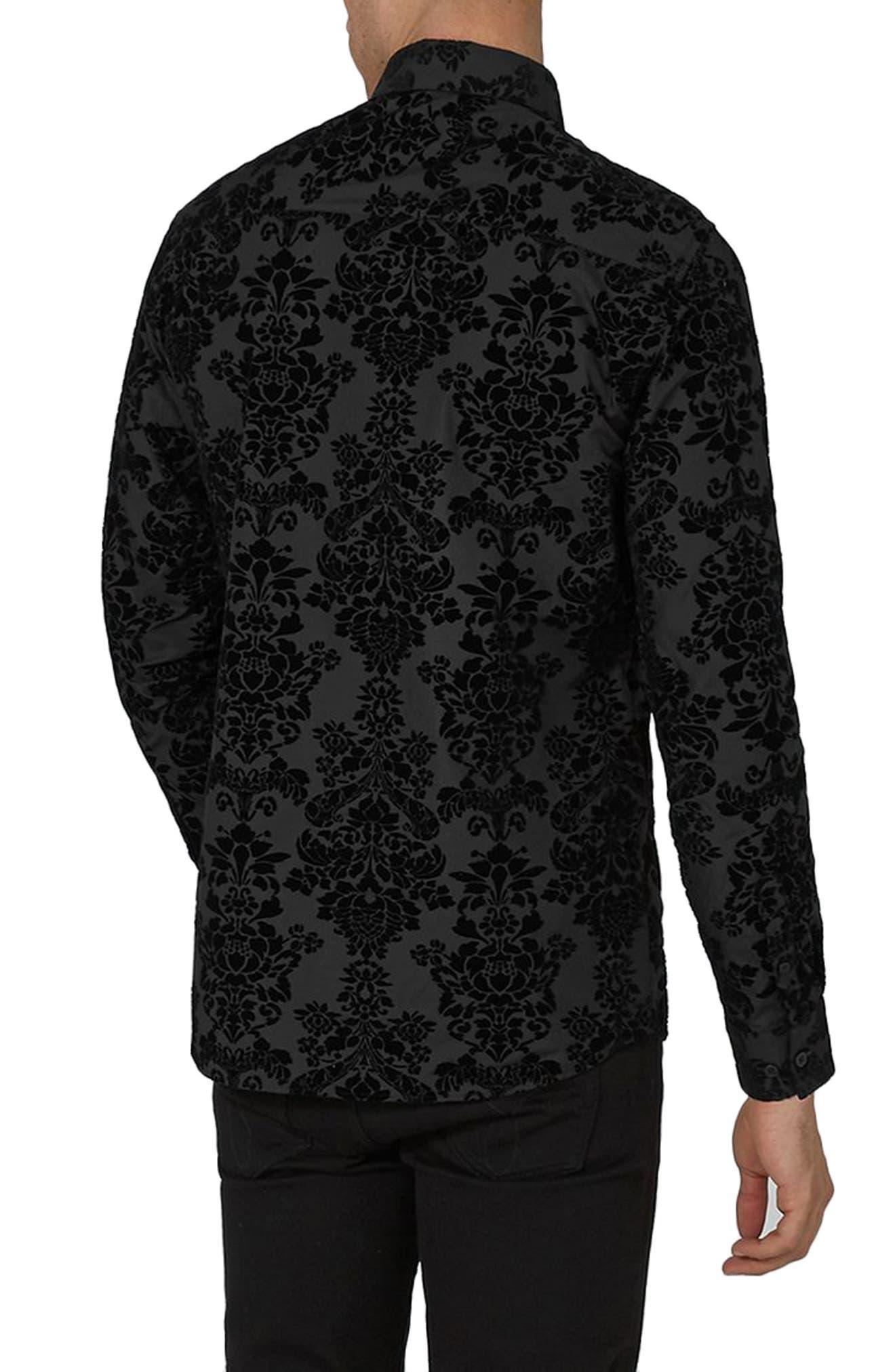 Slim Fit Flocked Shirt,                             Alternate thumbnail 2, color,                             Black