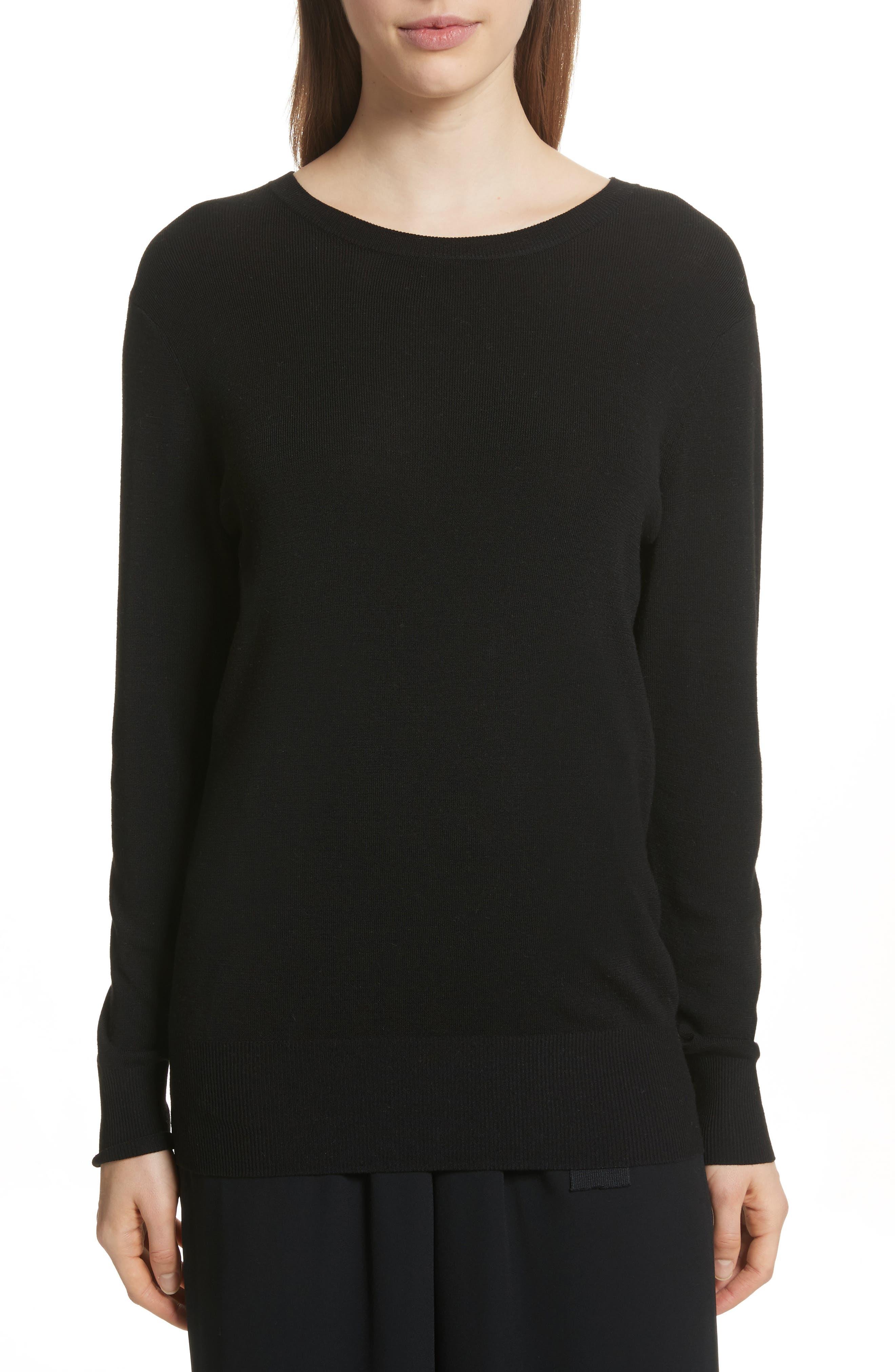 Slit Back Sweater,                             Main thumbnail 1, color,                             Black