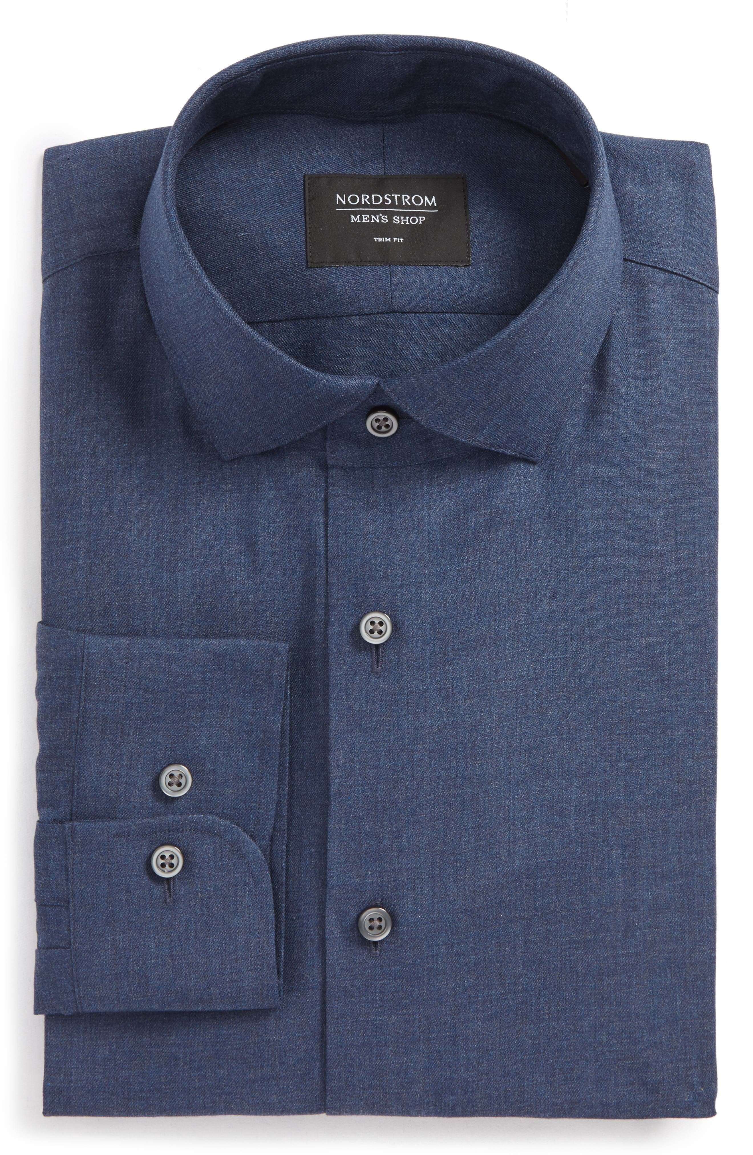 Trim Fit Solid Dress Shirt,                         Main,                         color, Navy Medieval