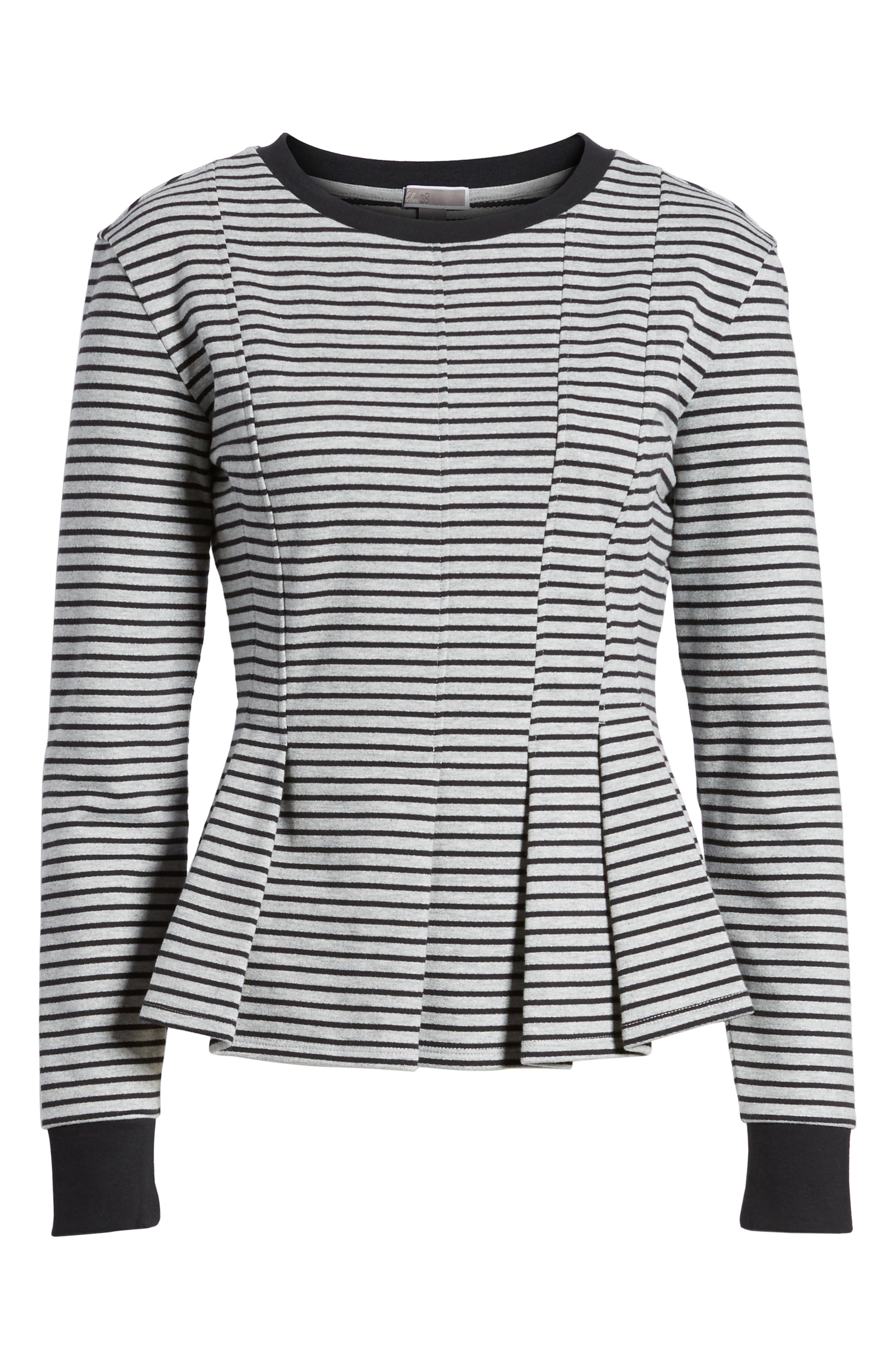 Pleated Sweatshirt,                             Alternate thumbnail 6, color,                             Grey Heather- Navy Seam Stripe