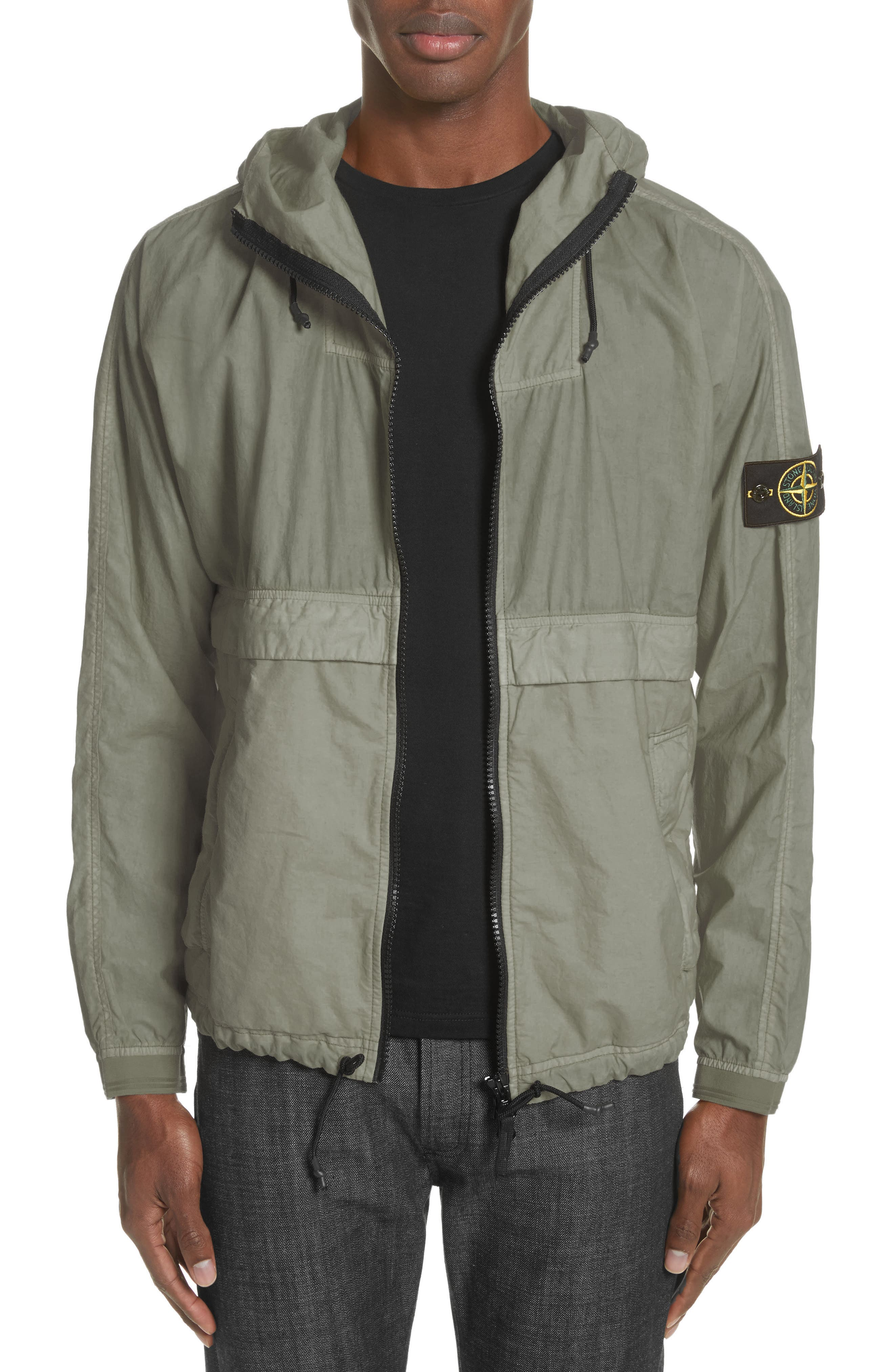 Poplin Hooded Jacket,                         Main,                         color, Green