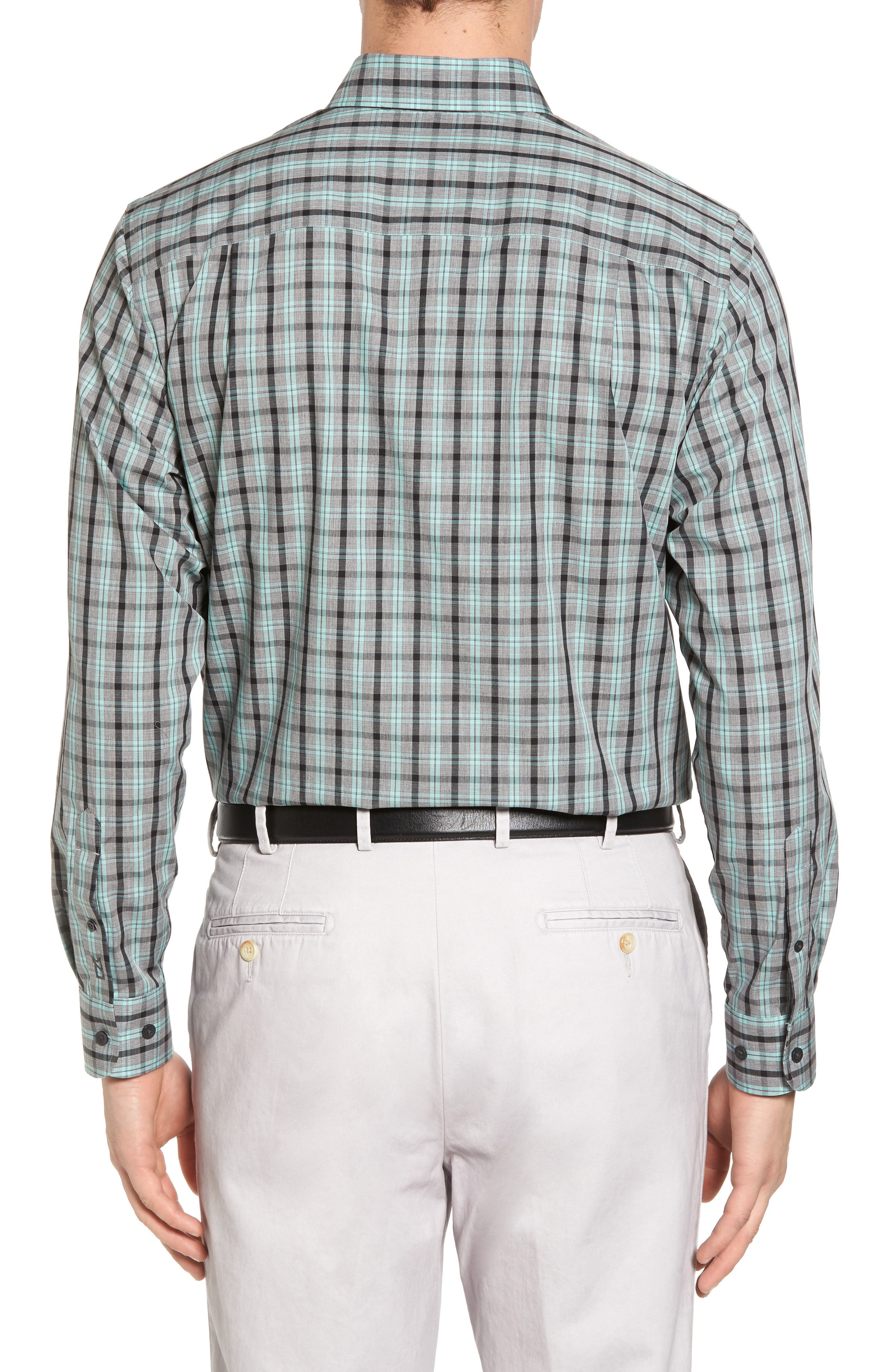 Davis Non-Iron Plaid Sport Shirt,                             Alternate thumbnail 2, color,                             Aquastone